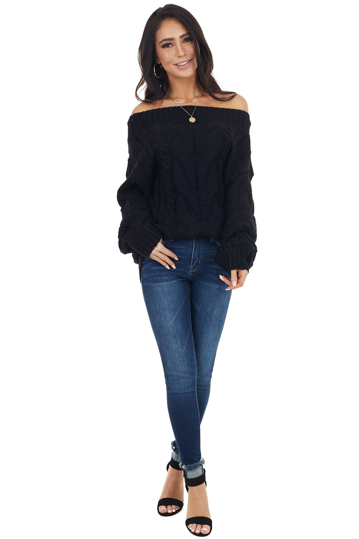 Black Chunky Cable Knit Long Sleeve Sweater