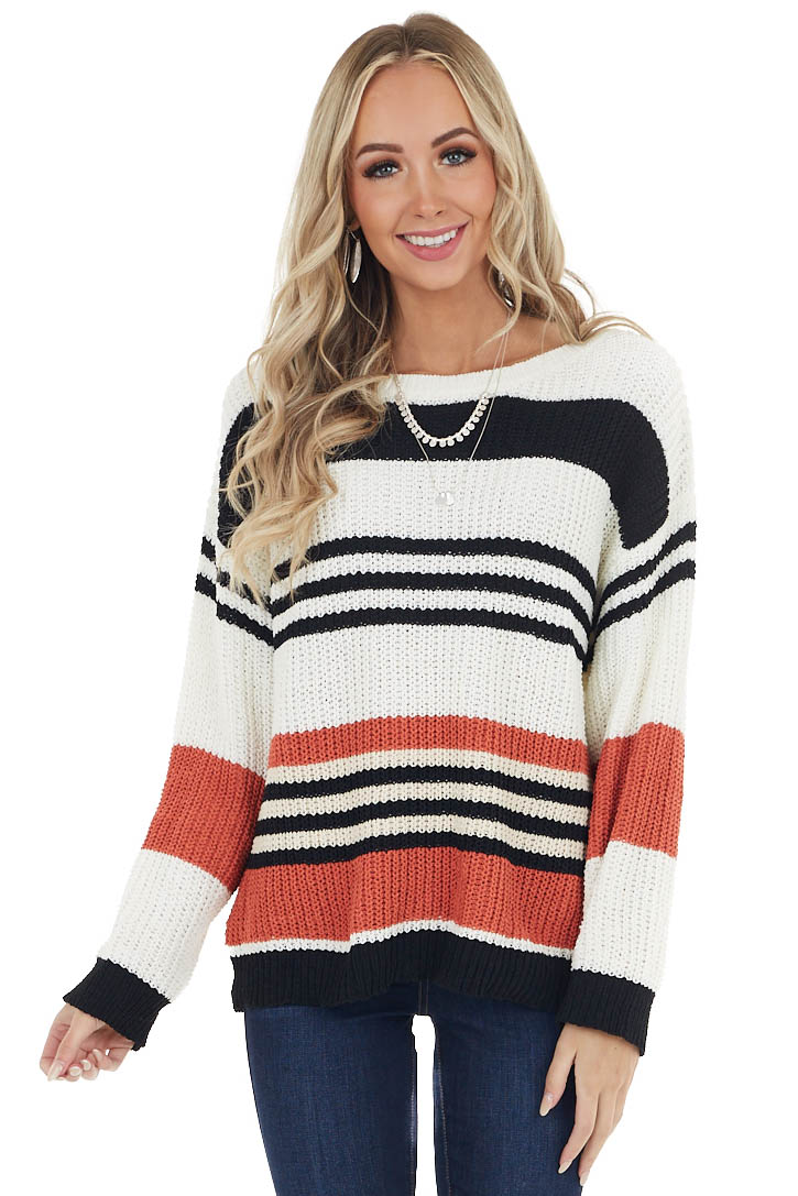 Ivory and Terracotta Striped Loose Knit Sweater