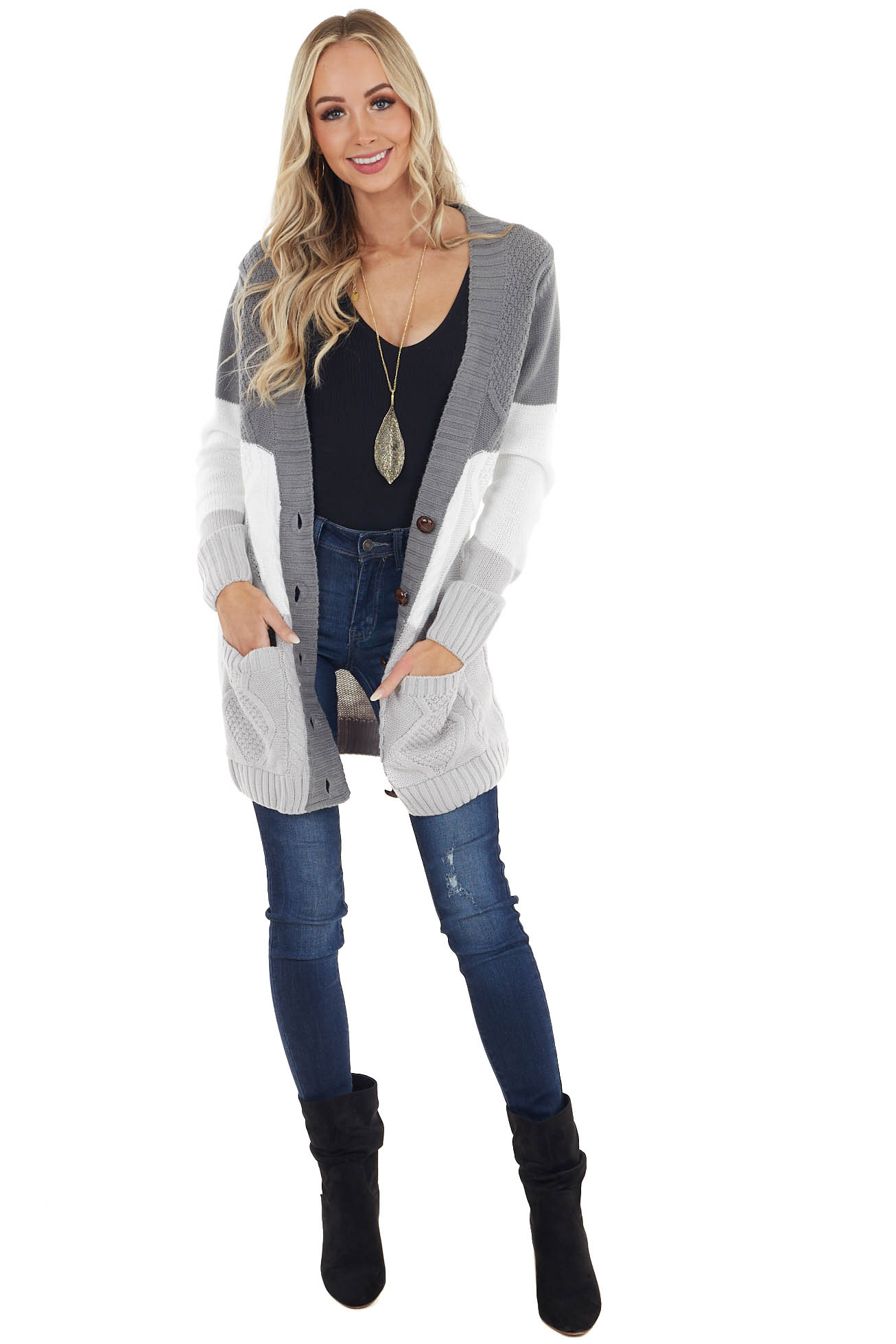Grey Colorblock Cardigan with Front Pockets and Buttons