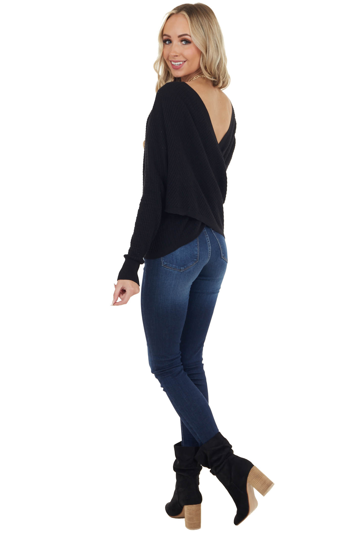 Black Textured Knit Surplice Back Top with Long Sleeves