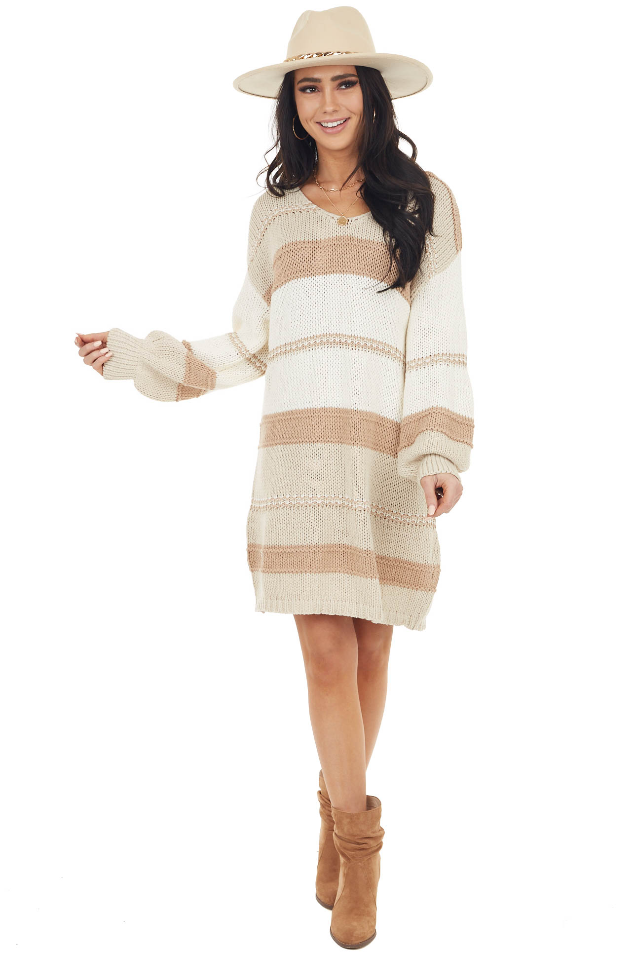 Beige Colorblock Loose Textured Knit Short Sweater Dress