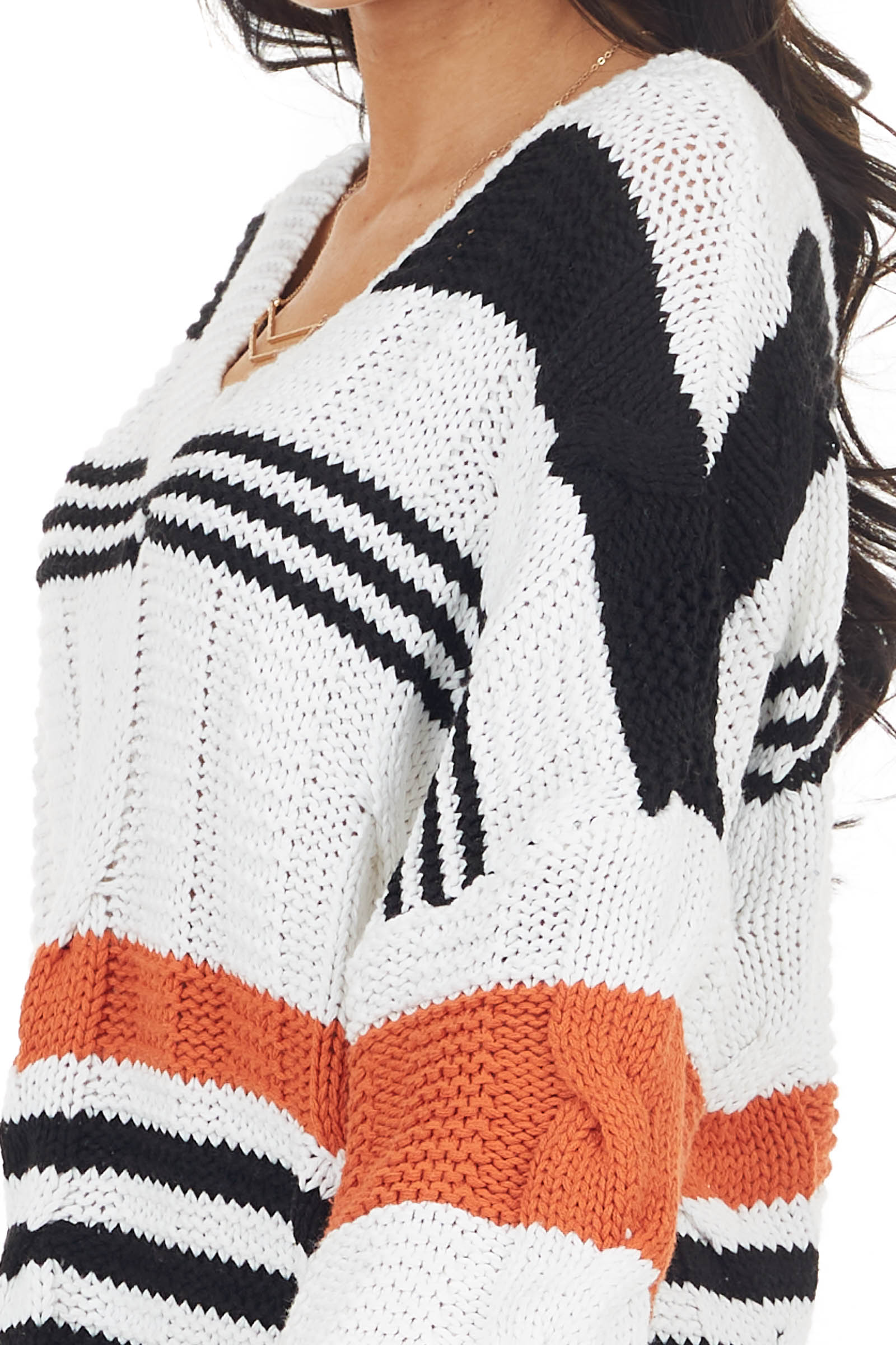 Eggshell Braided Knit Sweater with Black and Rust Stripes