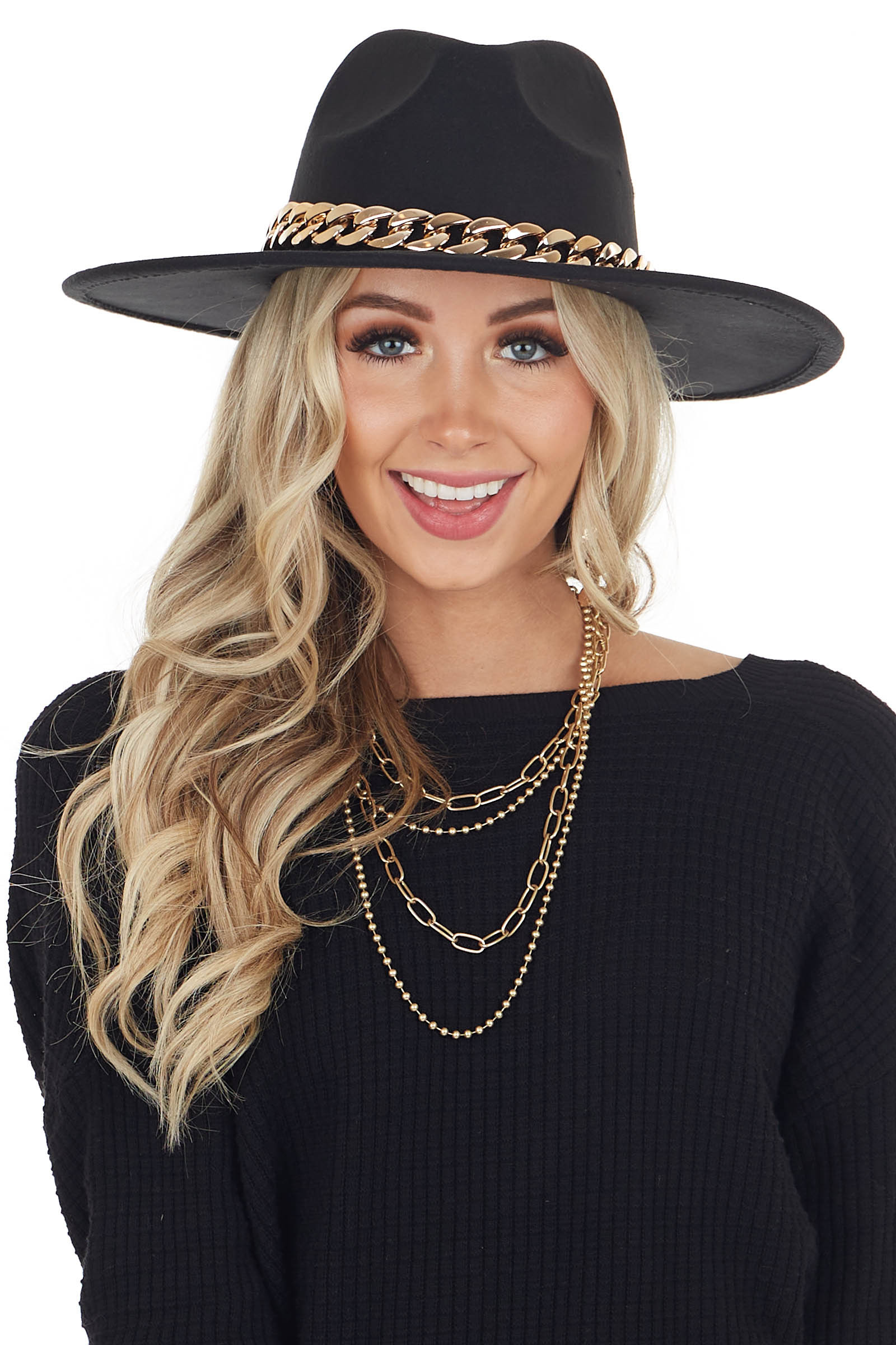 Black Felt Flat Brim Hat with Chunky Gold Chain Detail