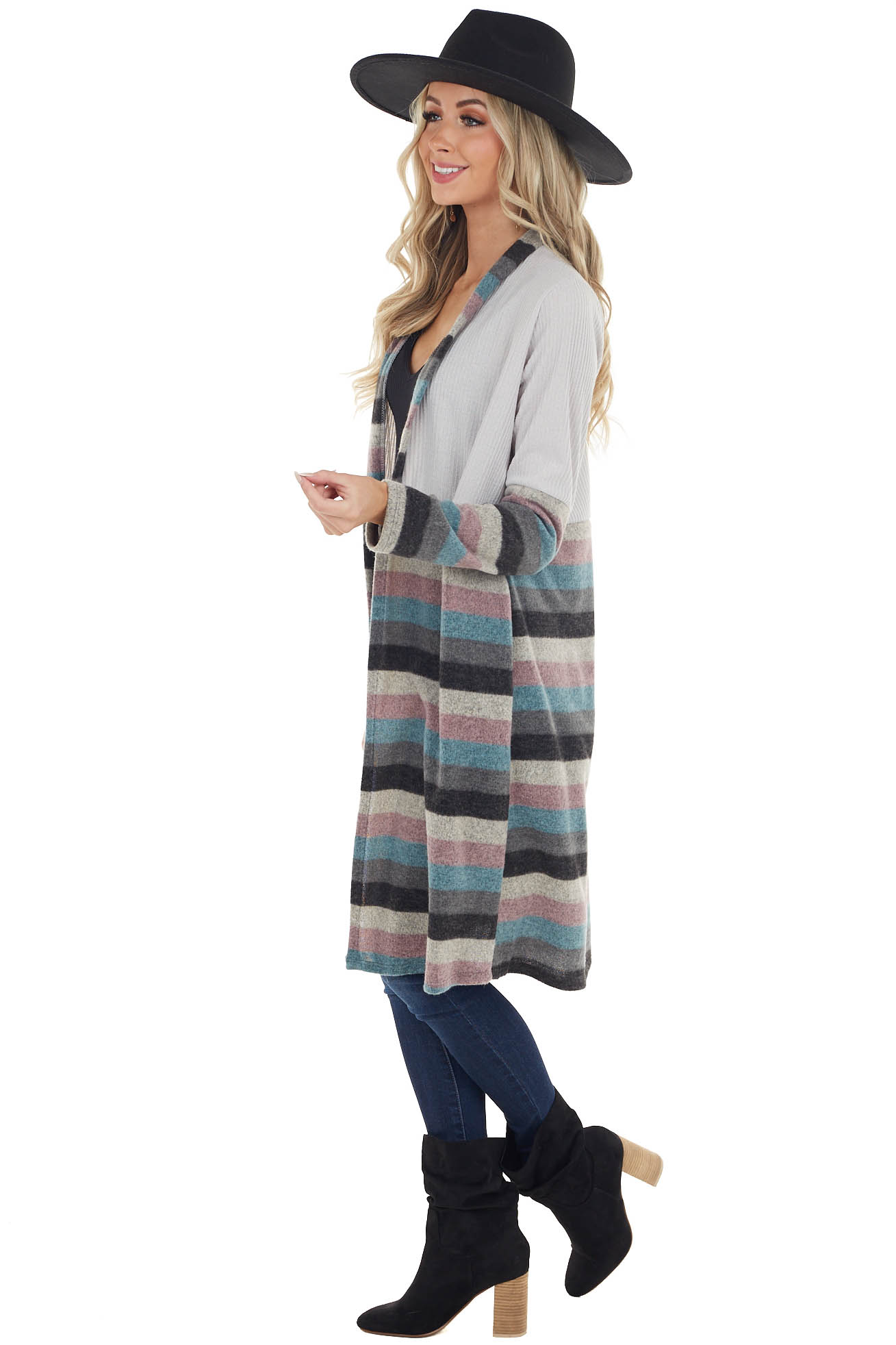 Dove Grey and Multicolor Striped Cardigan with Pockets