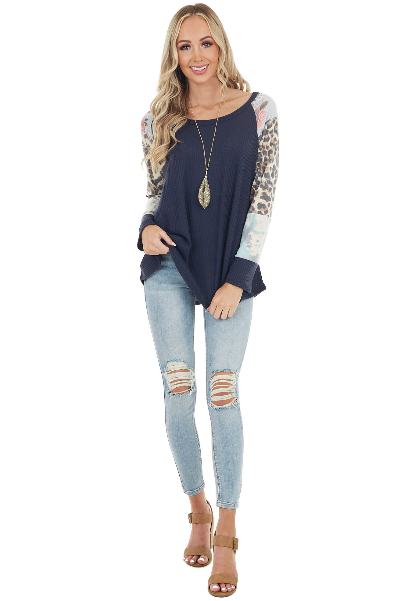 Navy Waffle Knit Top with Contrast Multiprint Long Sleeves