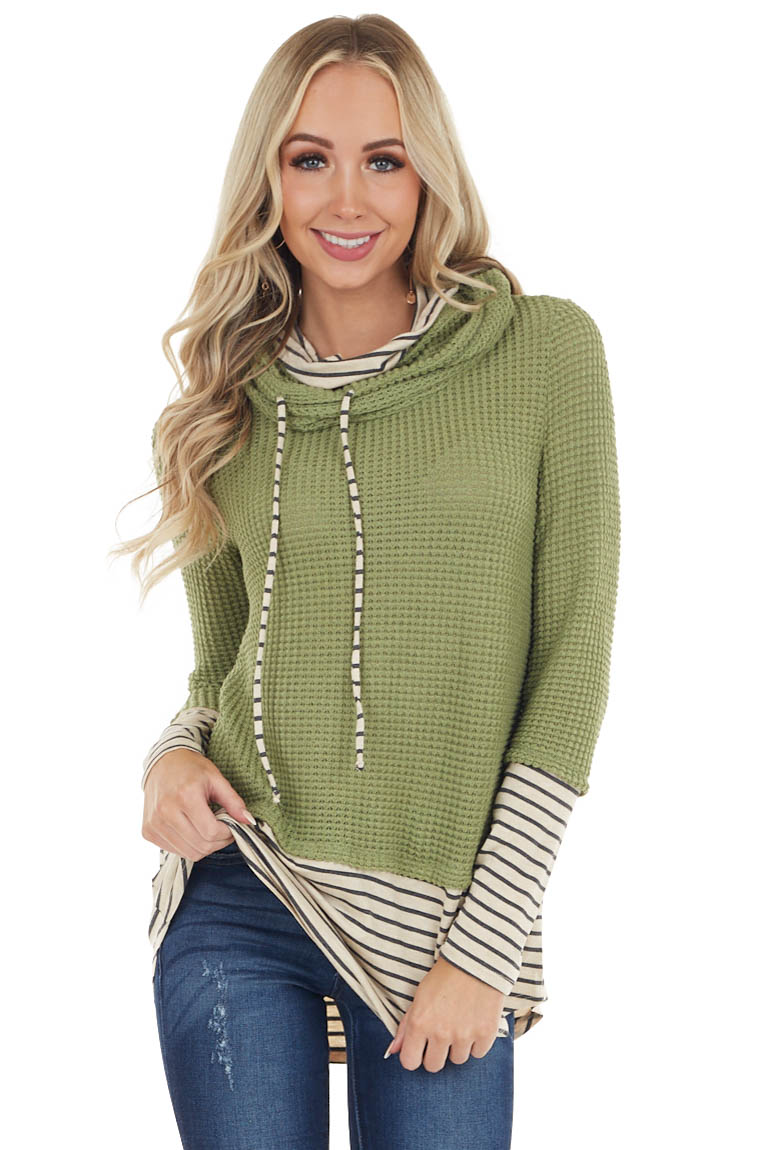 Pistachio and Striped Print Waffle Knit Light Cowl Neck Top