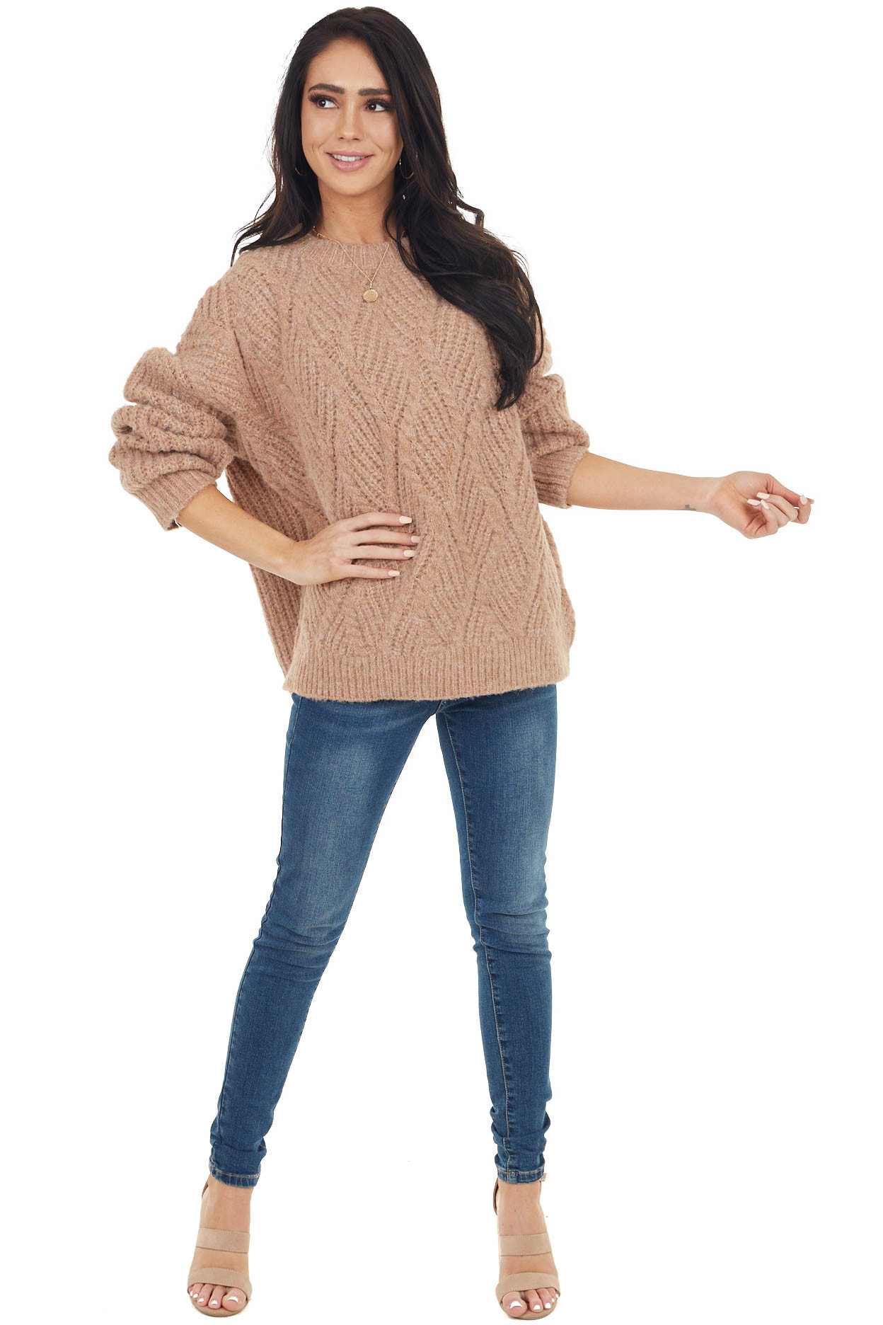 Faded Camel Long Sleeve Textured Knit Oversized Sweater
