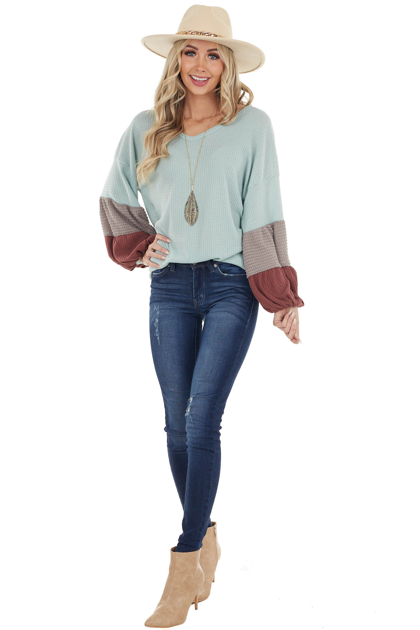 Sky Blue Waffle Knit V Neck Top with Long Bubble Sleeves
