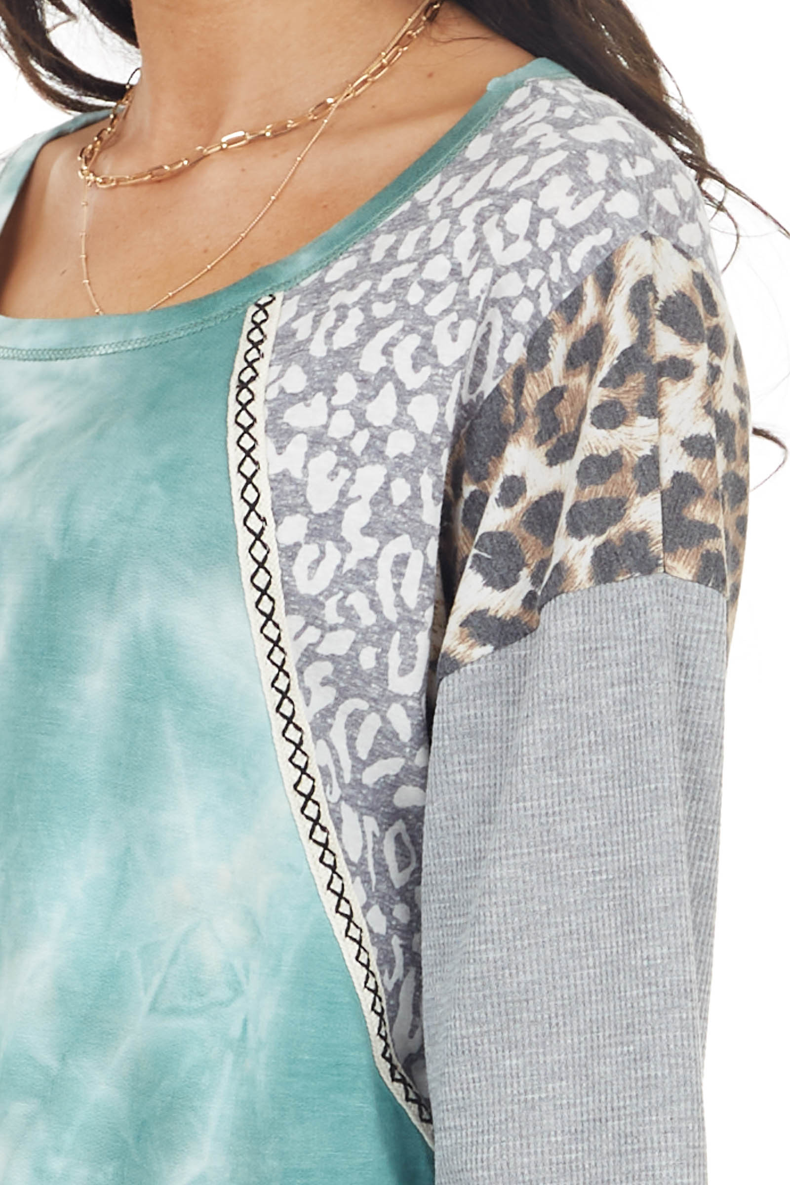 Teal Tie Dye Top with Leopard and Cheetah Print Contrast