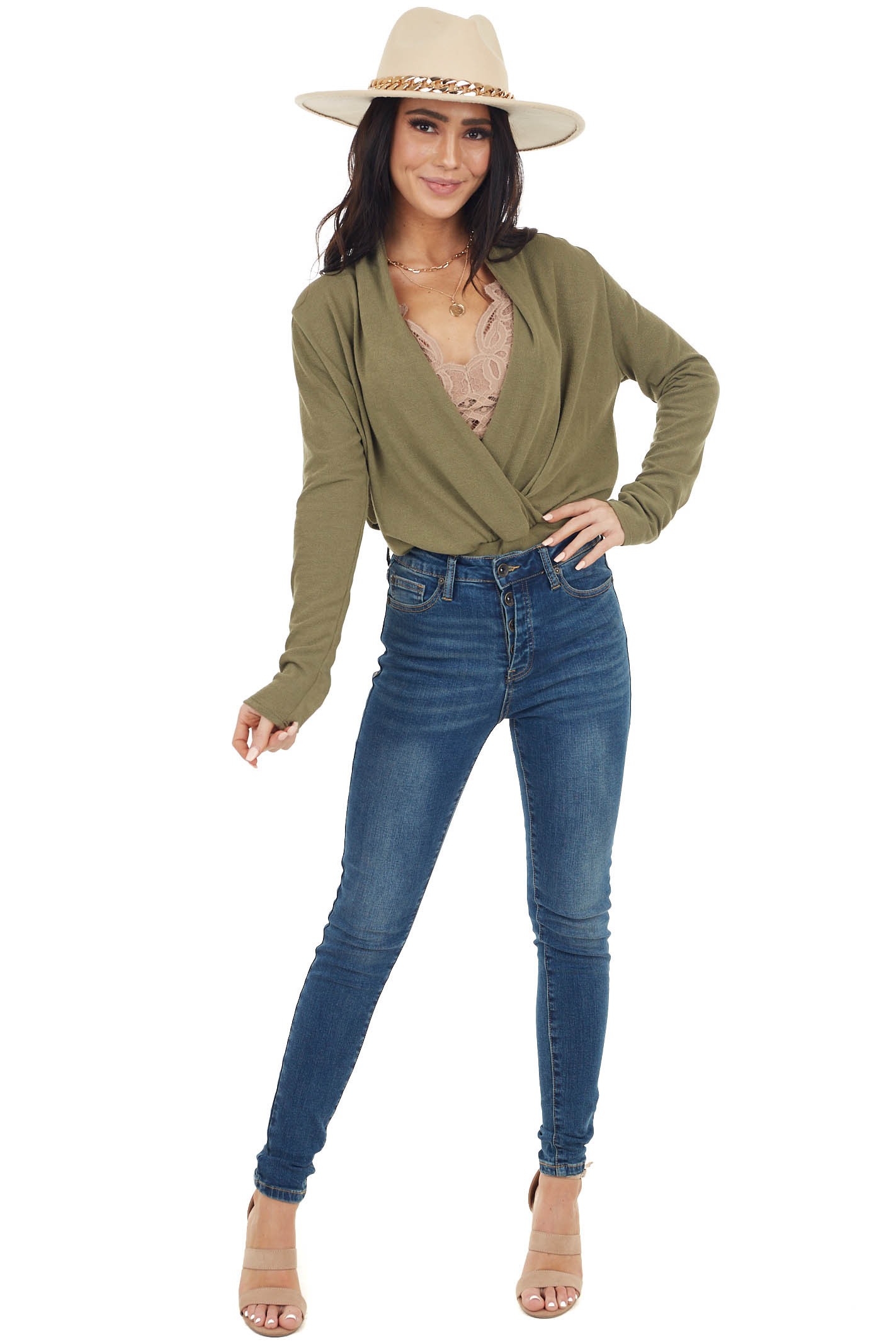 Olive Stretchy Knit Banded Surplice Long Sleeve Sweater