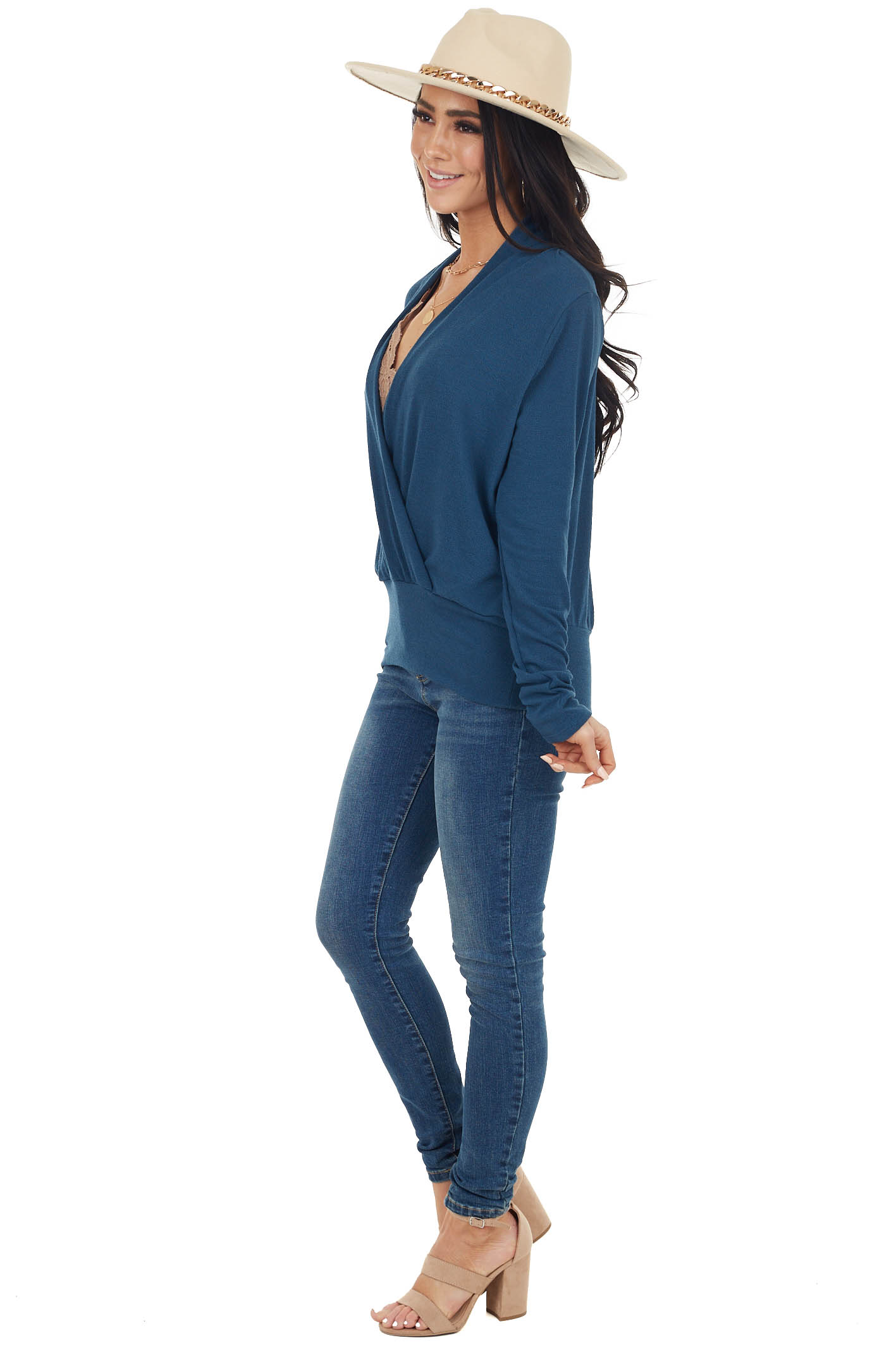 Dark Ocean Stretchy Knit Banded Surplice Long Sleeve Sweater