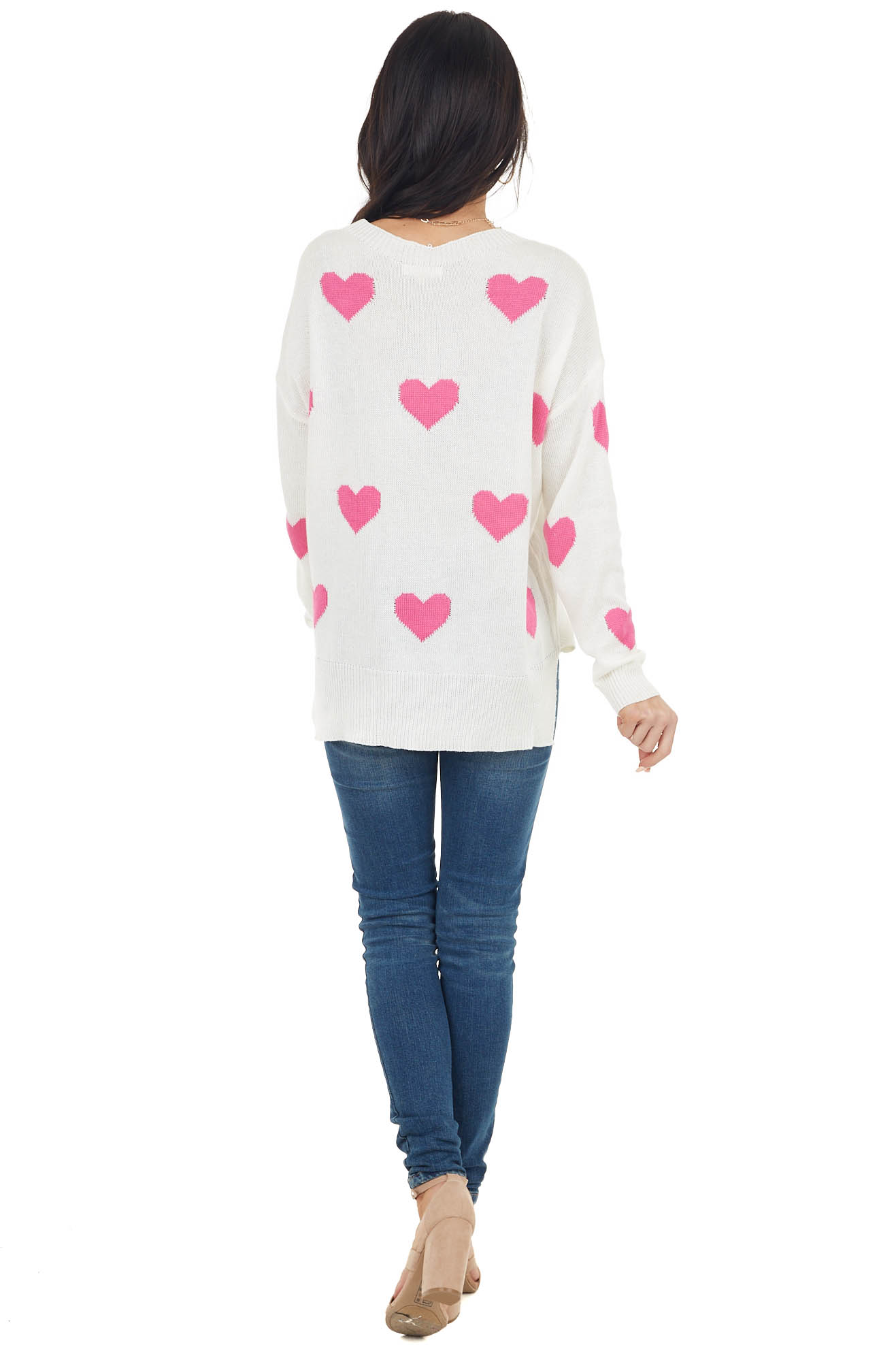 Ivory Lightweight Long Sleeve Sweater with Pink Heart Print