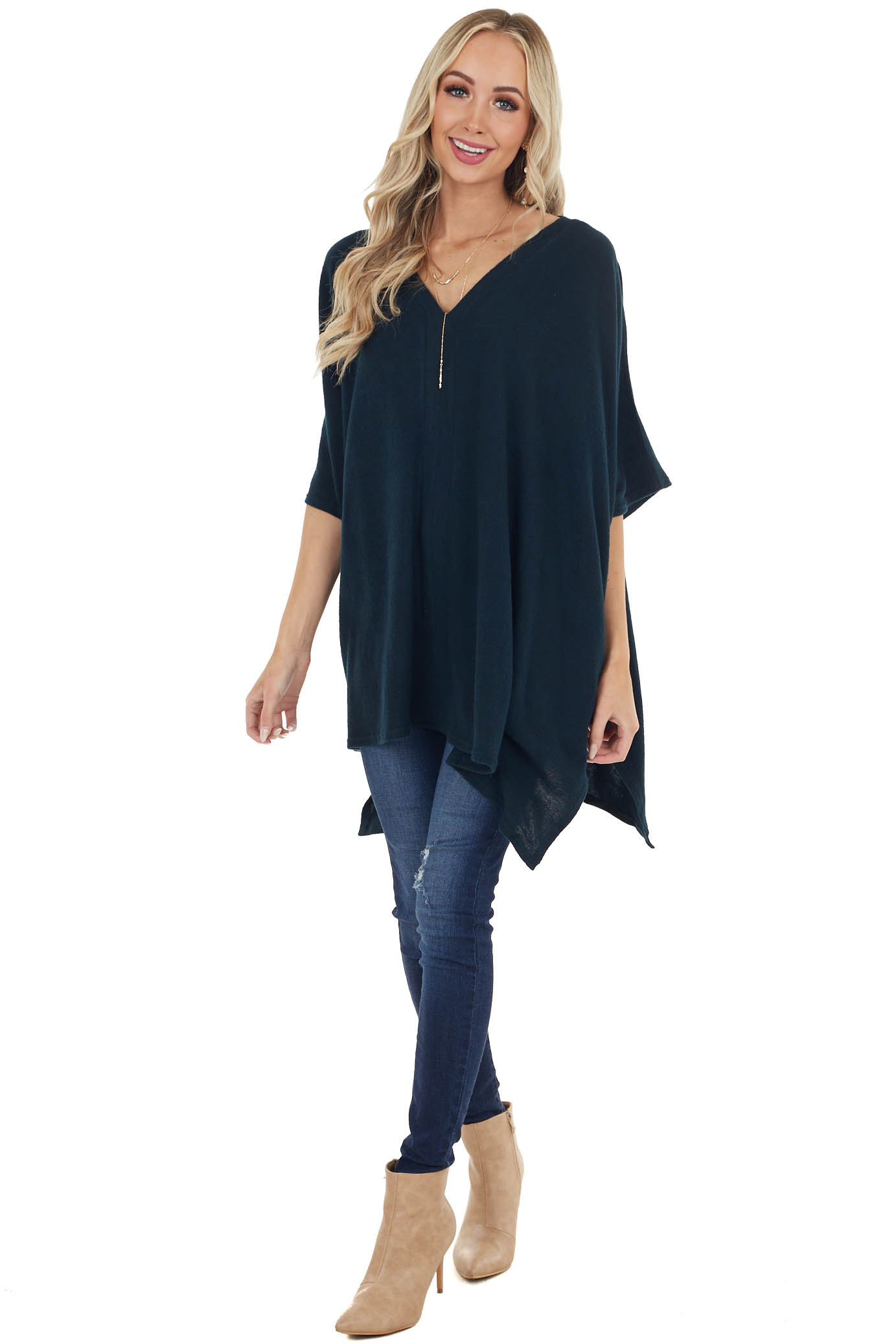 Dark Pine Oversized V Neck Poncho with Front Sewing Detail