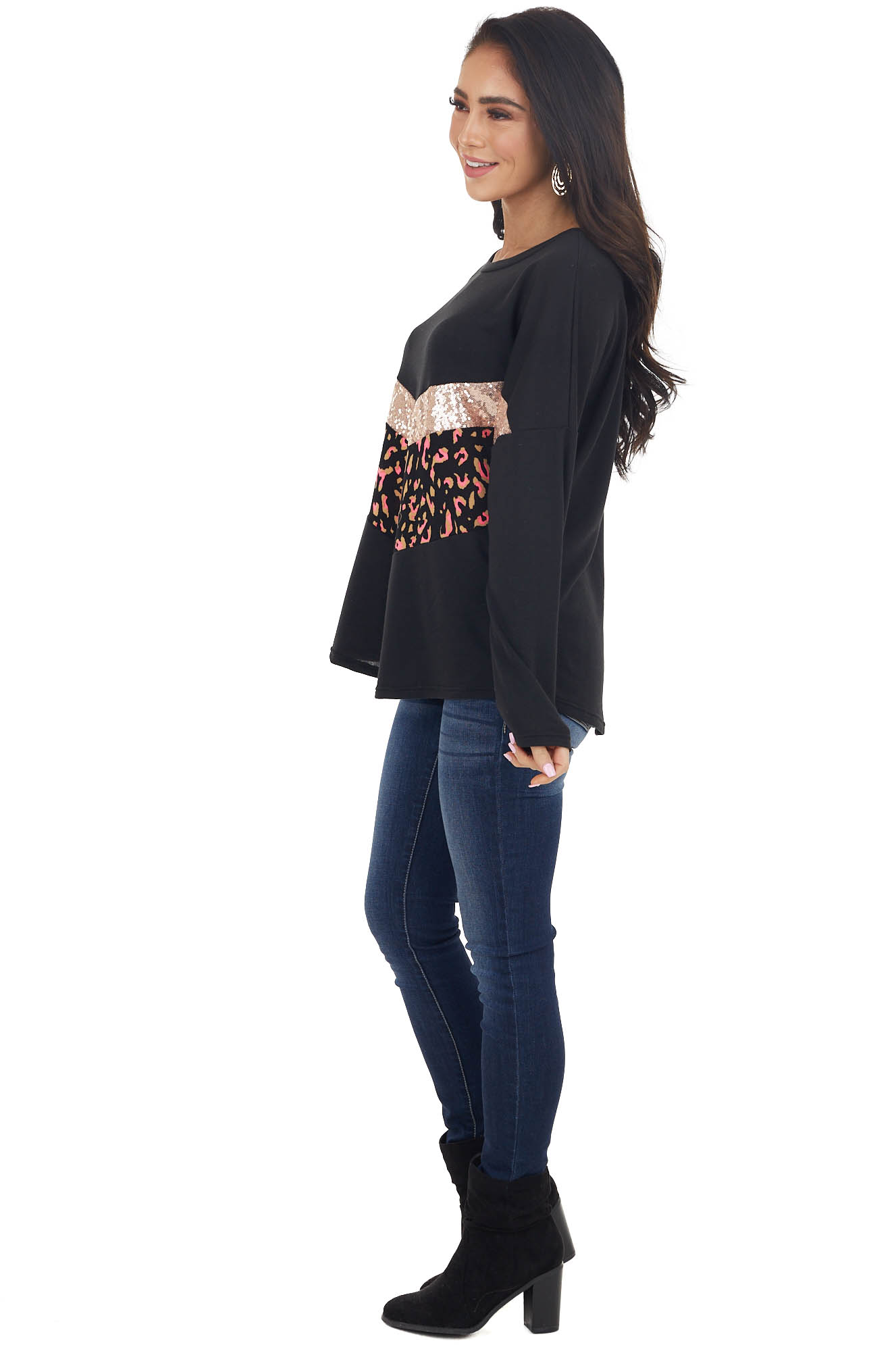 Black Long Sleeve Knit Top with Chevron Colorblock