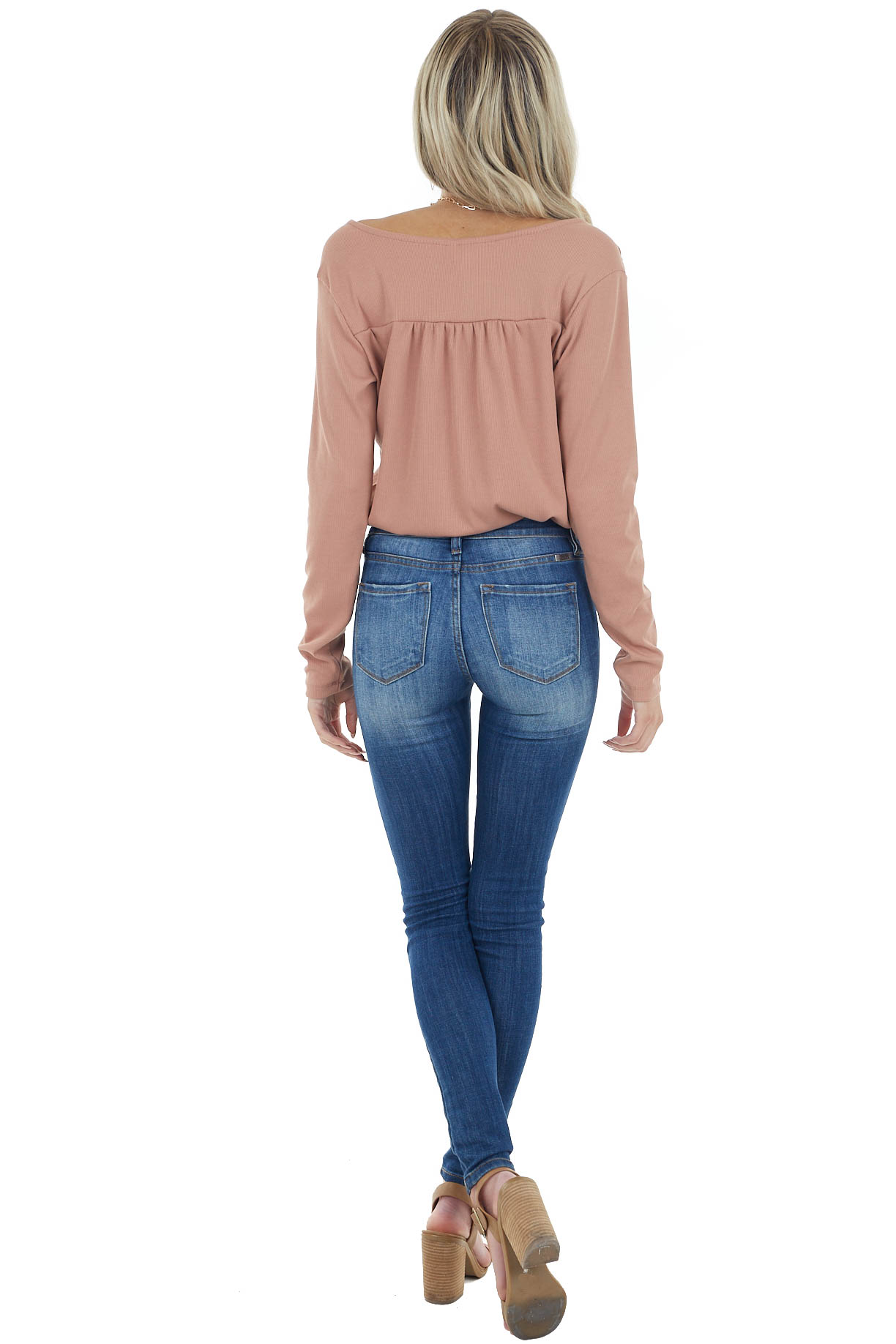 Dusty Peach Ribbed Knit Surplice Bodysuit with Long Sleeves