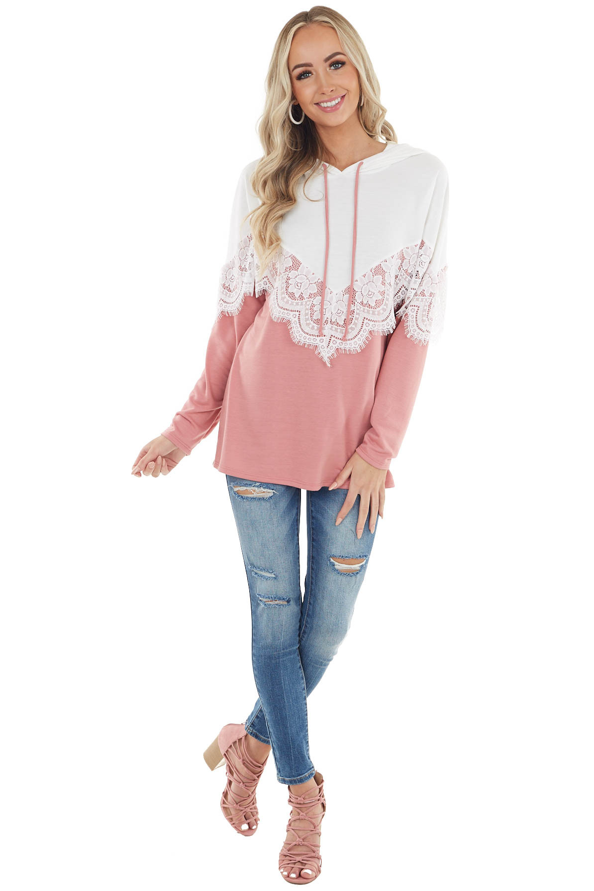 Dusty Blush and Ivory Colorblock Hoodie with Lace Detail