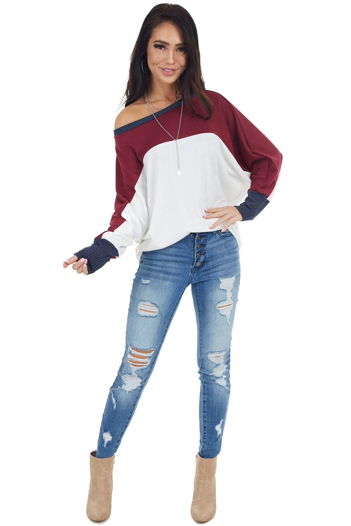 Ivory and Wine Colorblock Knit Top with Long Dolman Sleeves