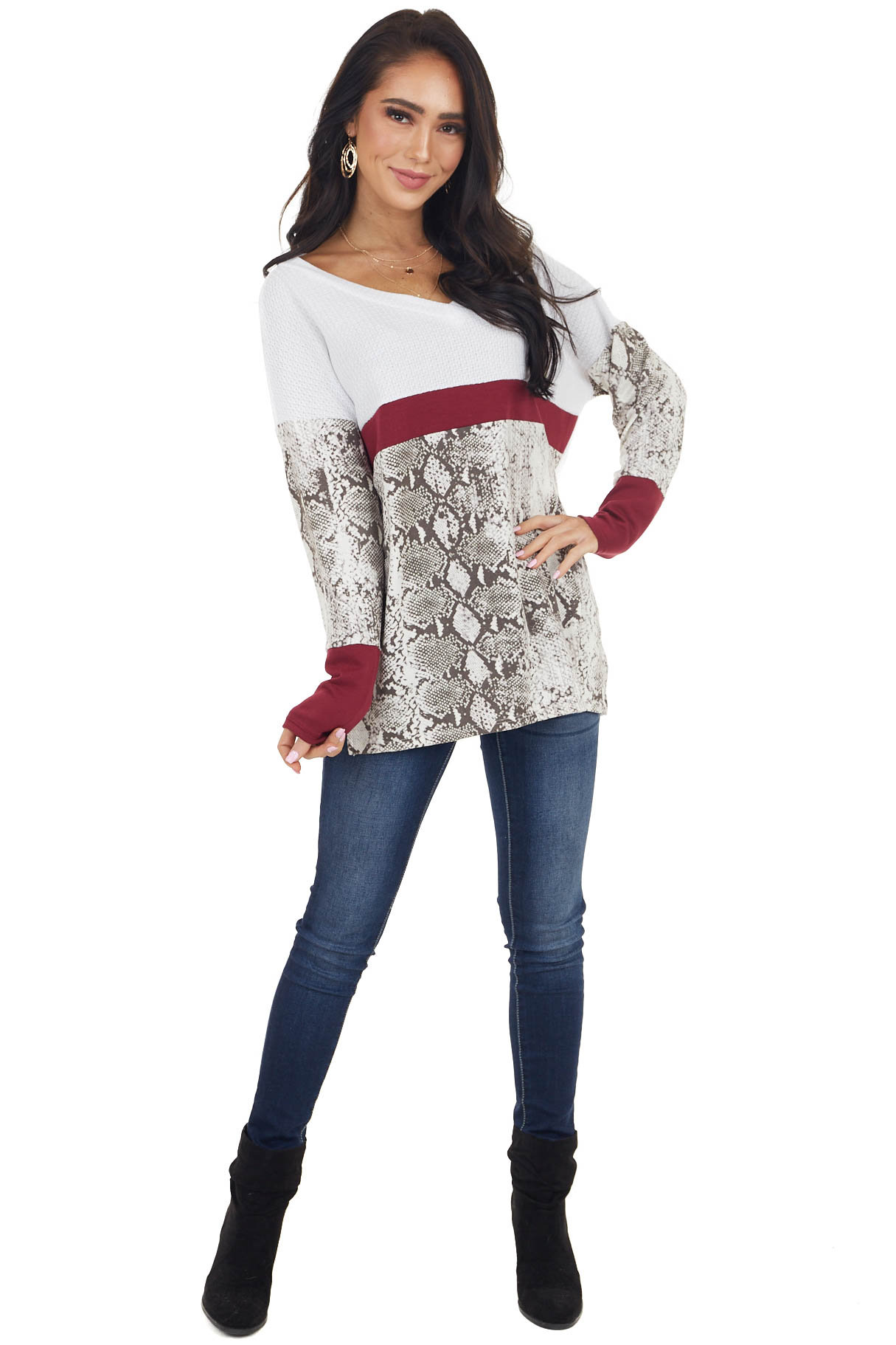 White and Snake Print Colorblock Waffle Knit Long Sleeve Top