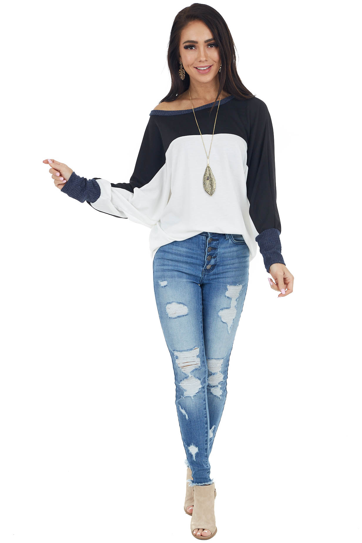 Ivory and Black Colorblock Knit Top with Long Dolman Sleeves
