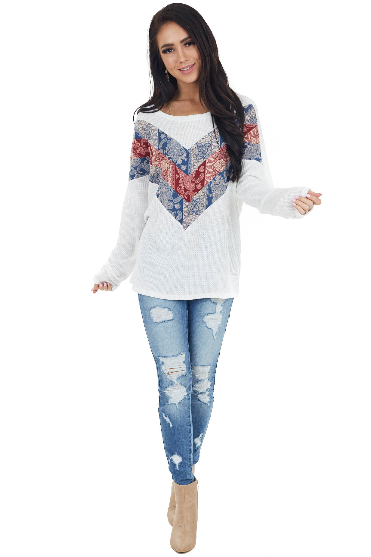 Off White Long Sleeve Top with Paisley Print Colorblock