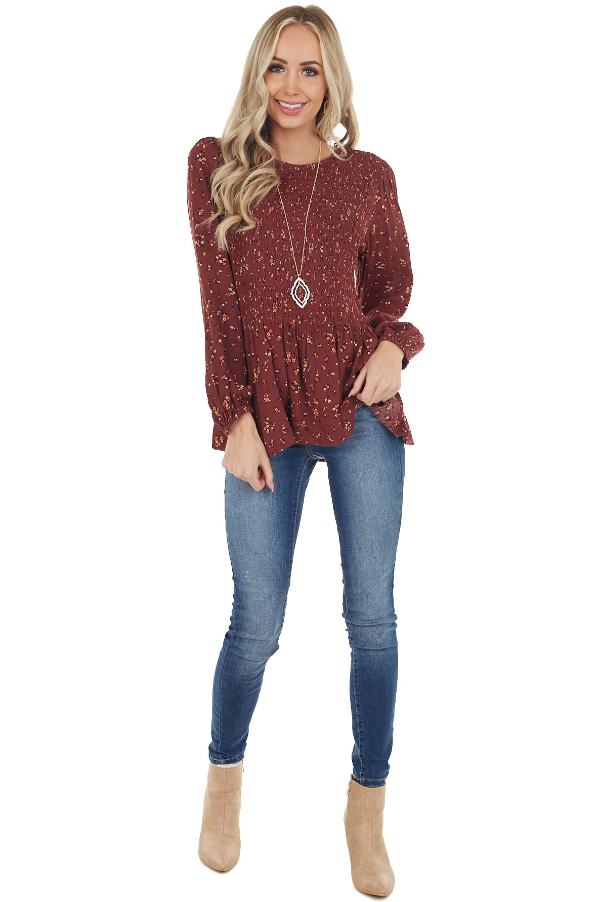 Dark Wine Floral Print Long Sleeve Smocked Woven Top