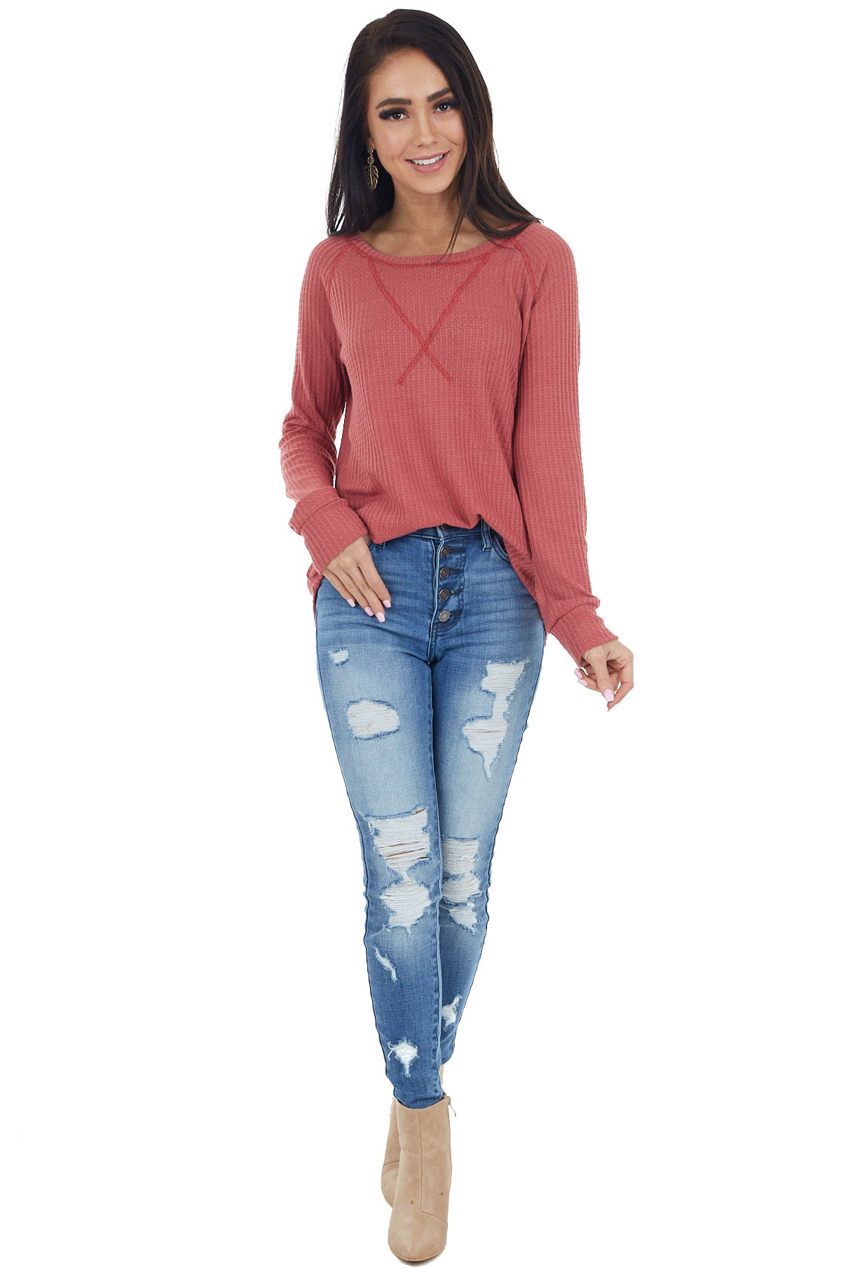Bright Marsala Waffle Knit Long Sleeve Top with V Stitch