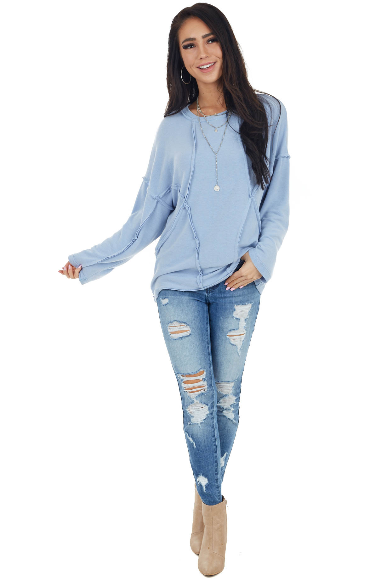 Powder Blue French Terry Knit Top with Raw Edge Details