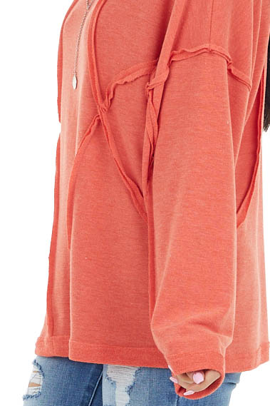 Dark Coral French Terry Knit Top with Raw Edge Details