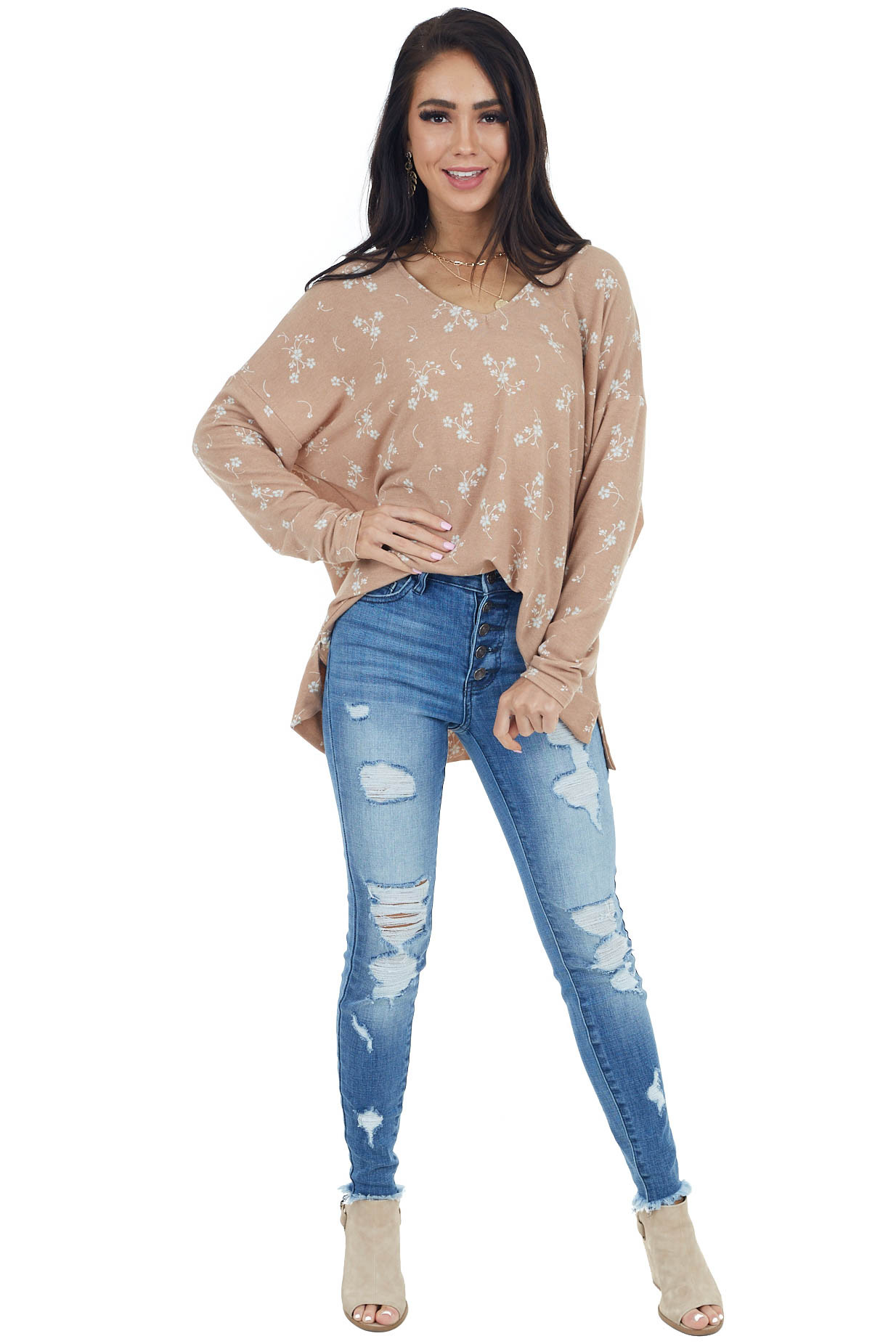 Dusty Peach Floral Print French Terry Top with Side Slits