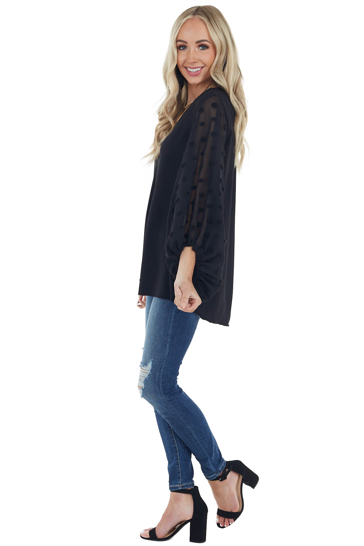 Black V Neck Top with Long Swiss Dot Bubble Sleeves