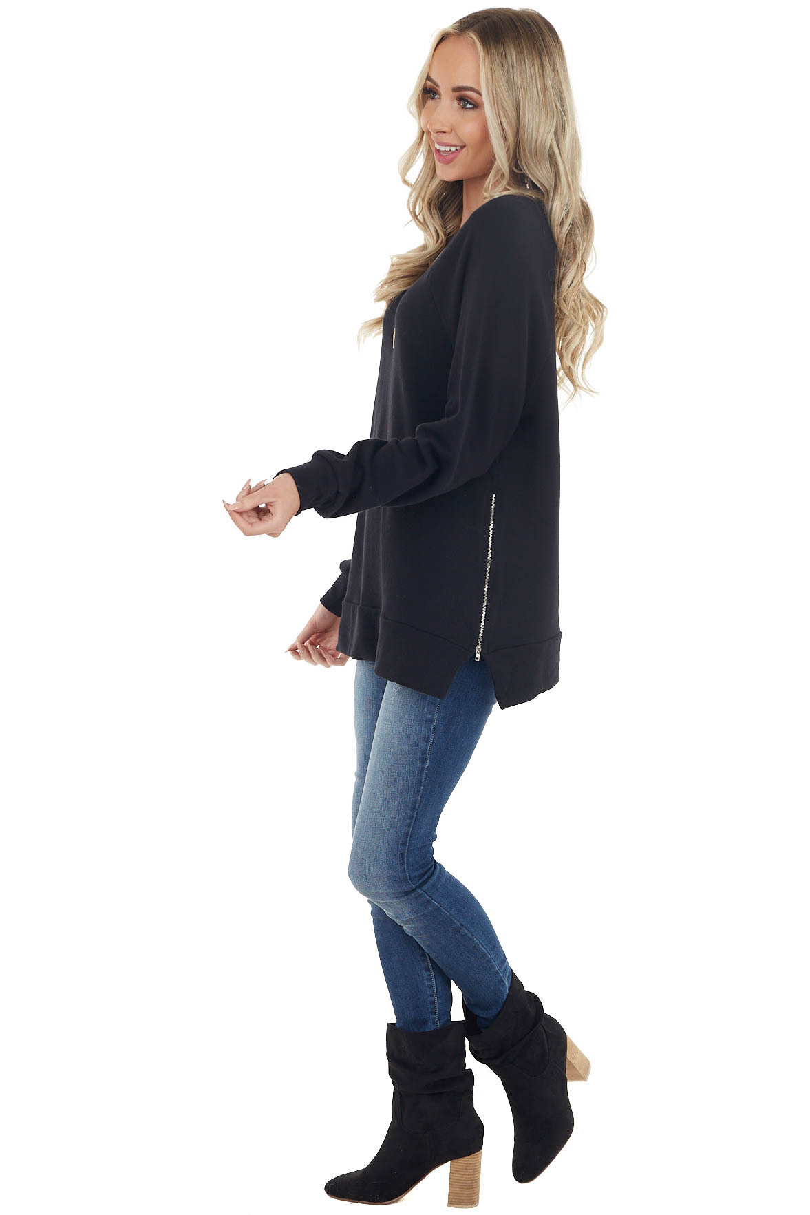 Black Puff Sleeve Stretchy Pullover with Zipper Side Slits