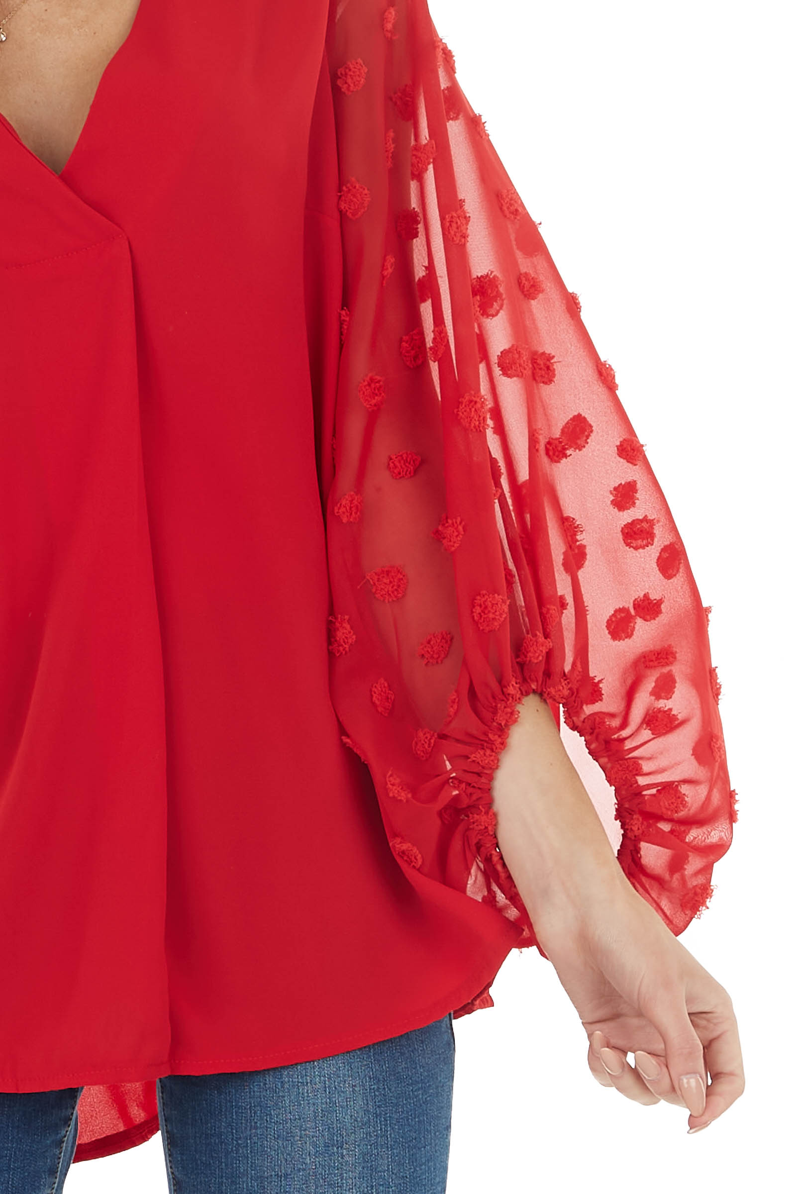 Lipstick Red V Neck Top with Long Swiss Dot Bubble Sleeves