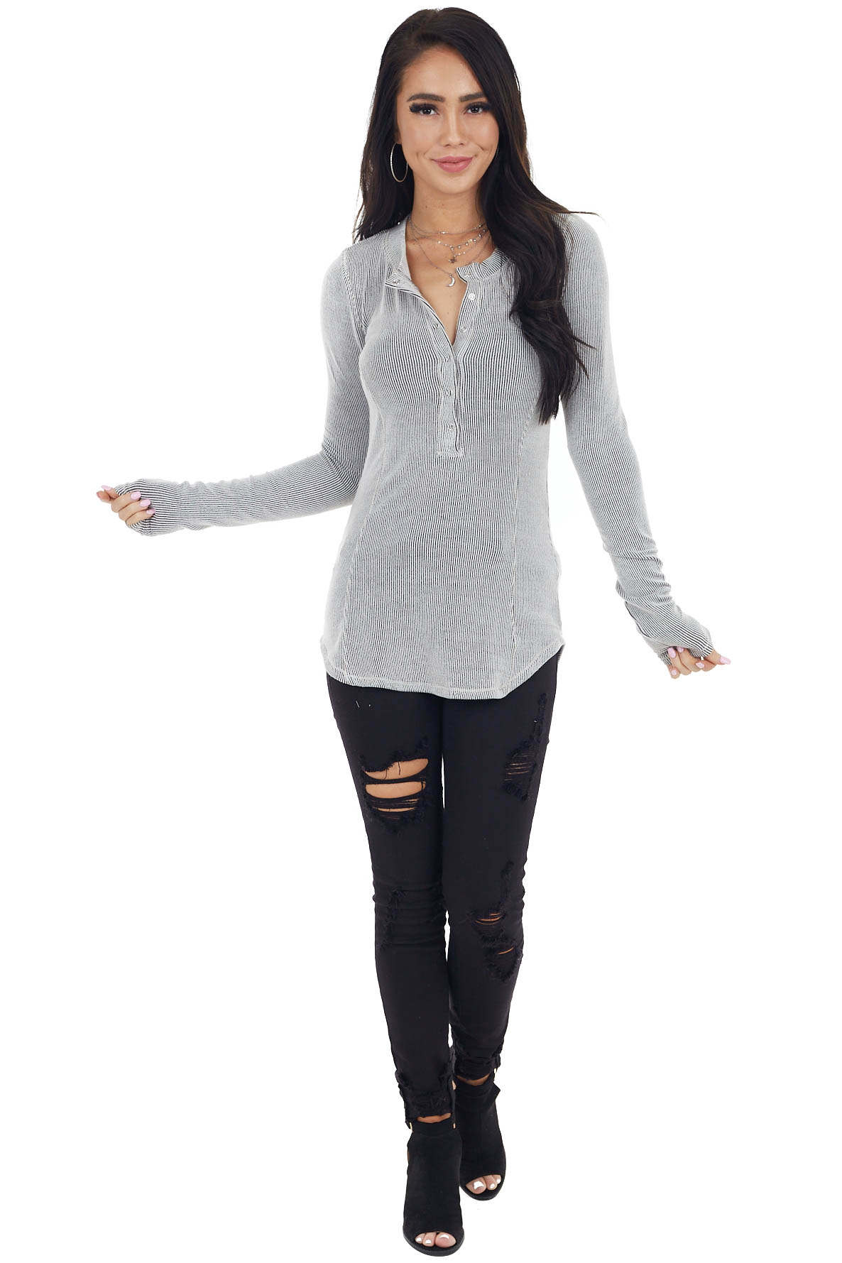 Off White and Black Striped Ribbed Knit Henley Button Top