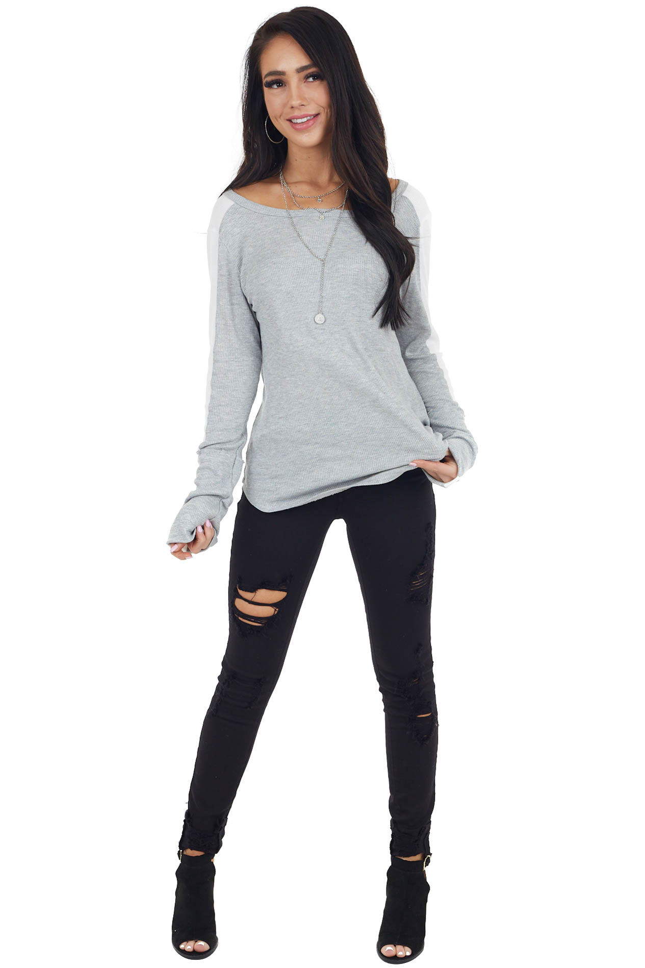 Dove Grey Waffle Knit Long Sleeve Top with White Contrast