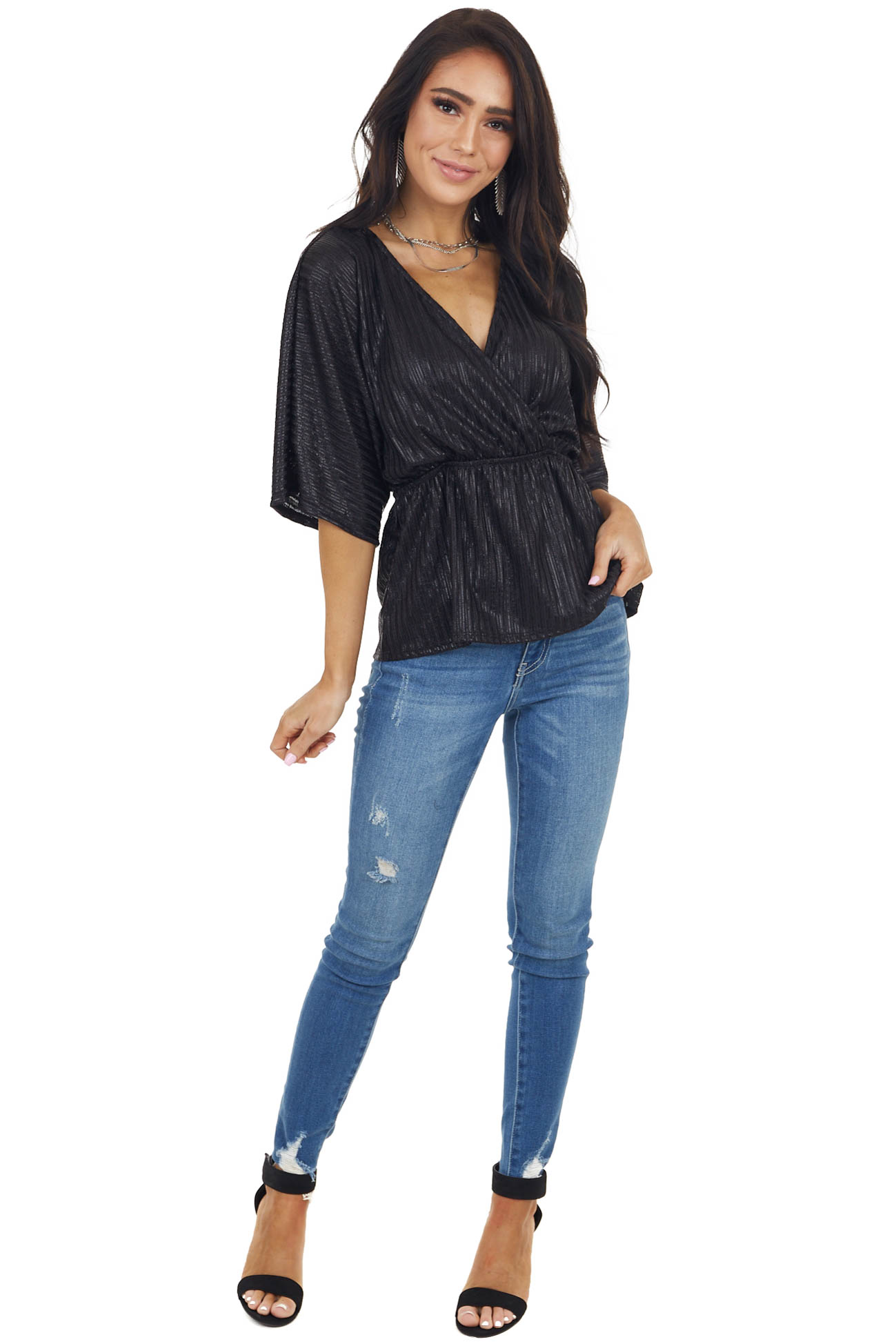 Black Wide Sleeve Striped Surplice Top with Elastic Waist