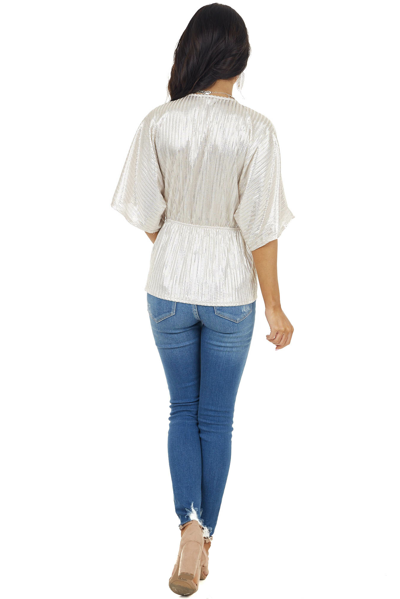 Champagne Wide Sleeve Stripe Surplice Top with Elastic Waist