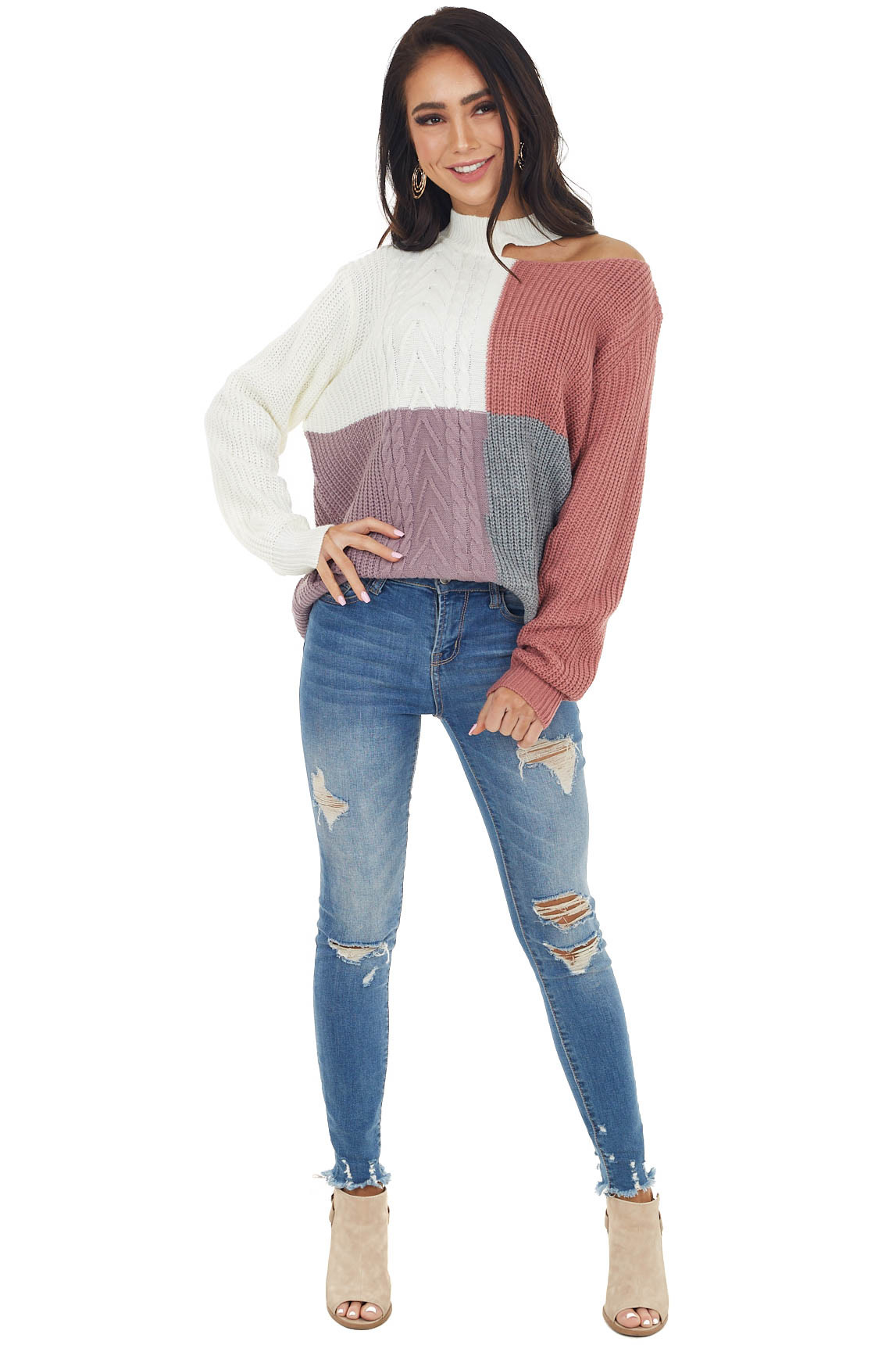 Ivory Colorblock Mock Neck Sweater with Cold Shoulder