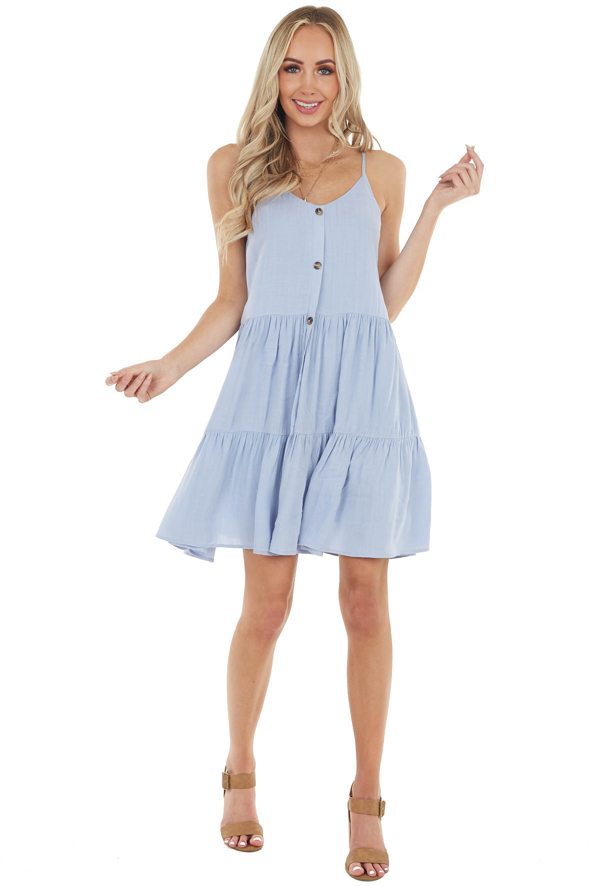 Powder Blue Sleeveless Button Down Tiered Dress with V Neck