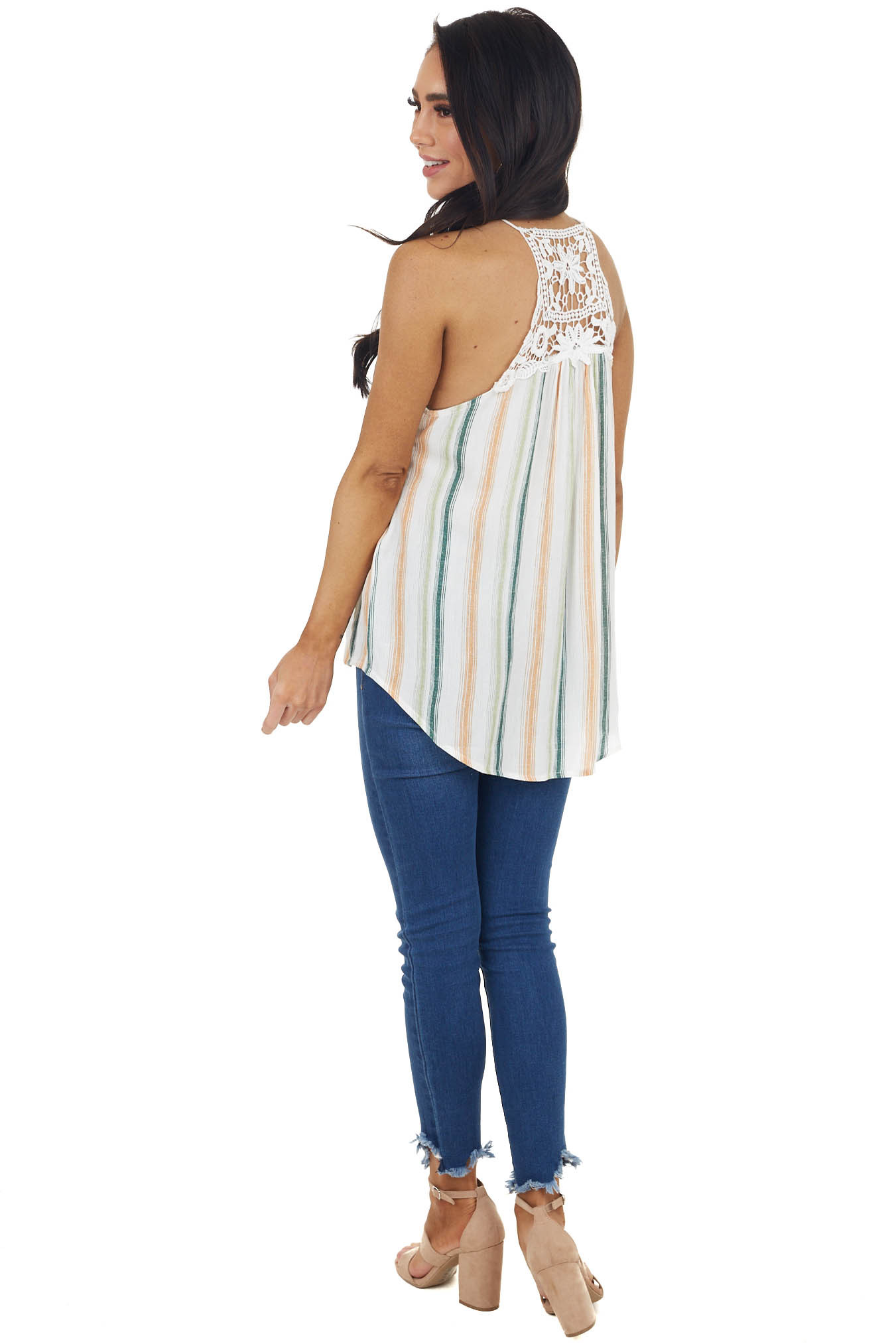 Peach Multicolor Striped Tank Top with Keyhole Detail