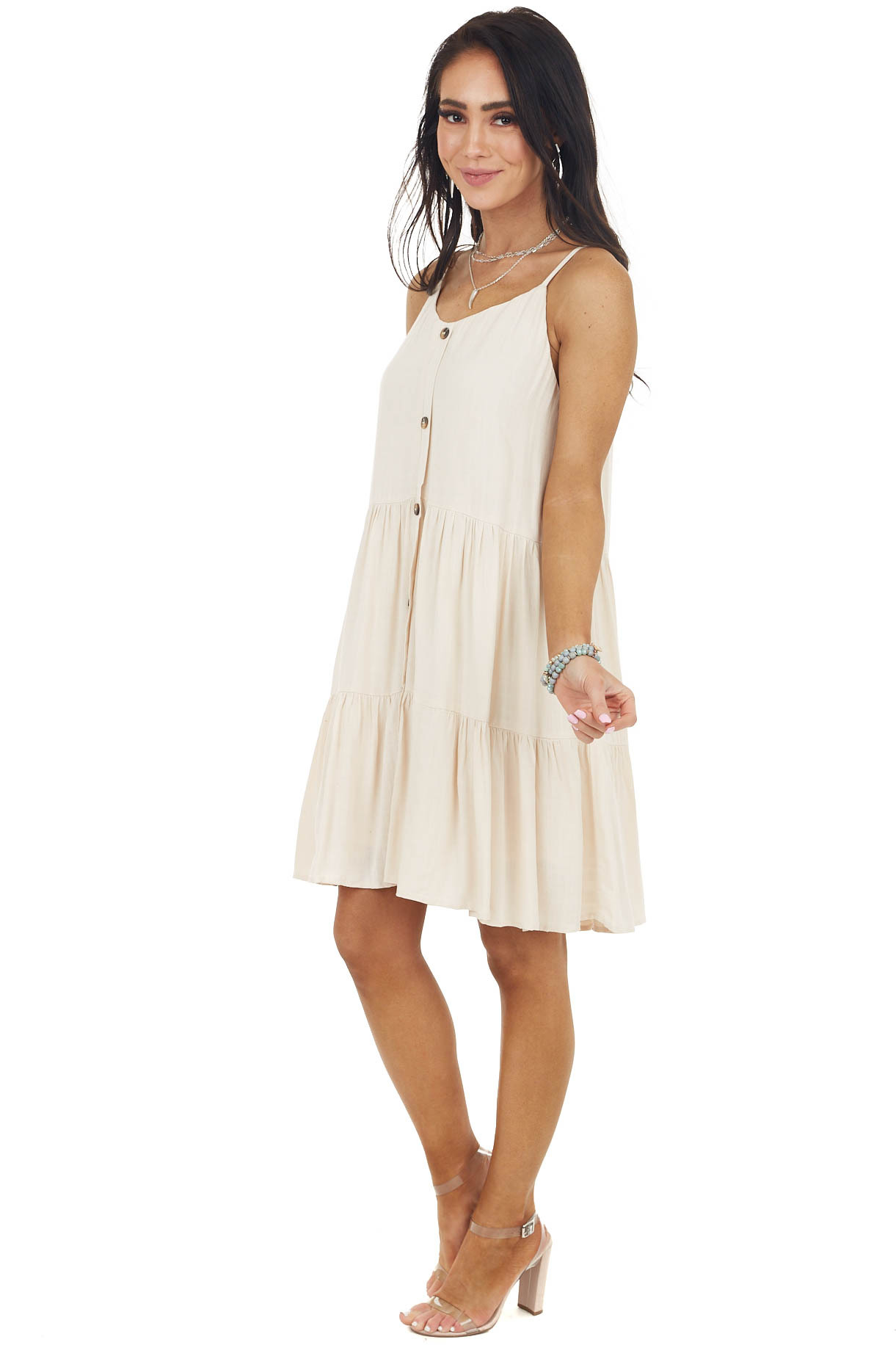 Light Beige Sleeveless Button Down Tiered Dress with V Neck