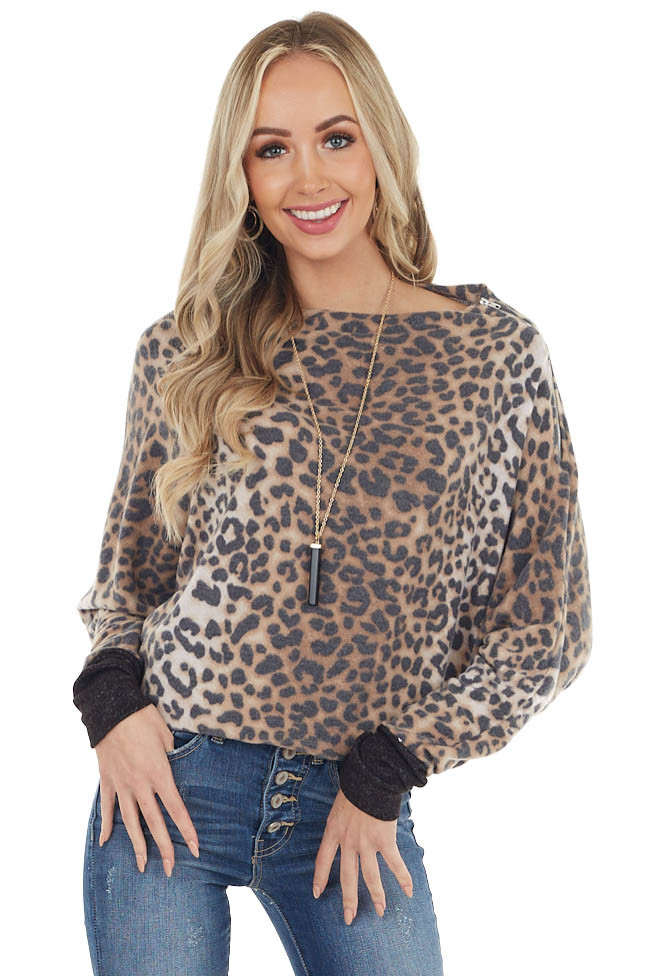 Charcoal Leopard Print Long Sleeve Top with Zipper Detail