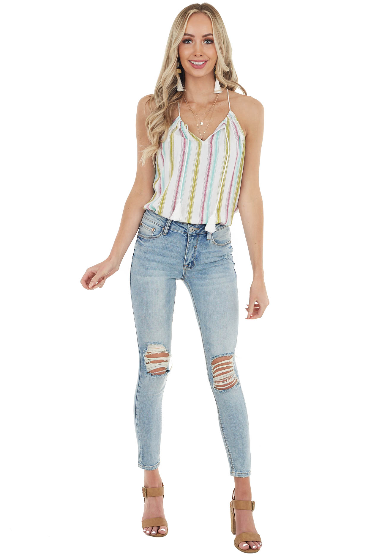 Dark Mauve Multicolor Striped Tank Top with Keyhole Detail