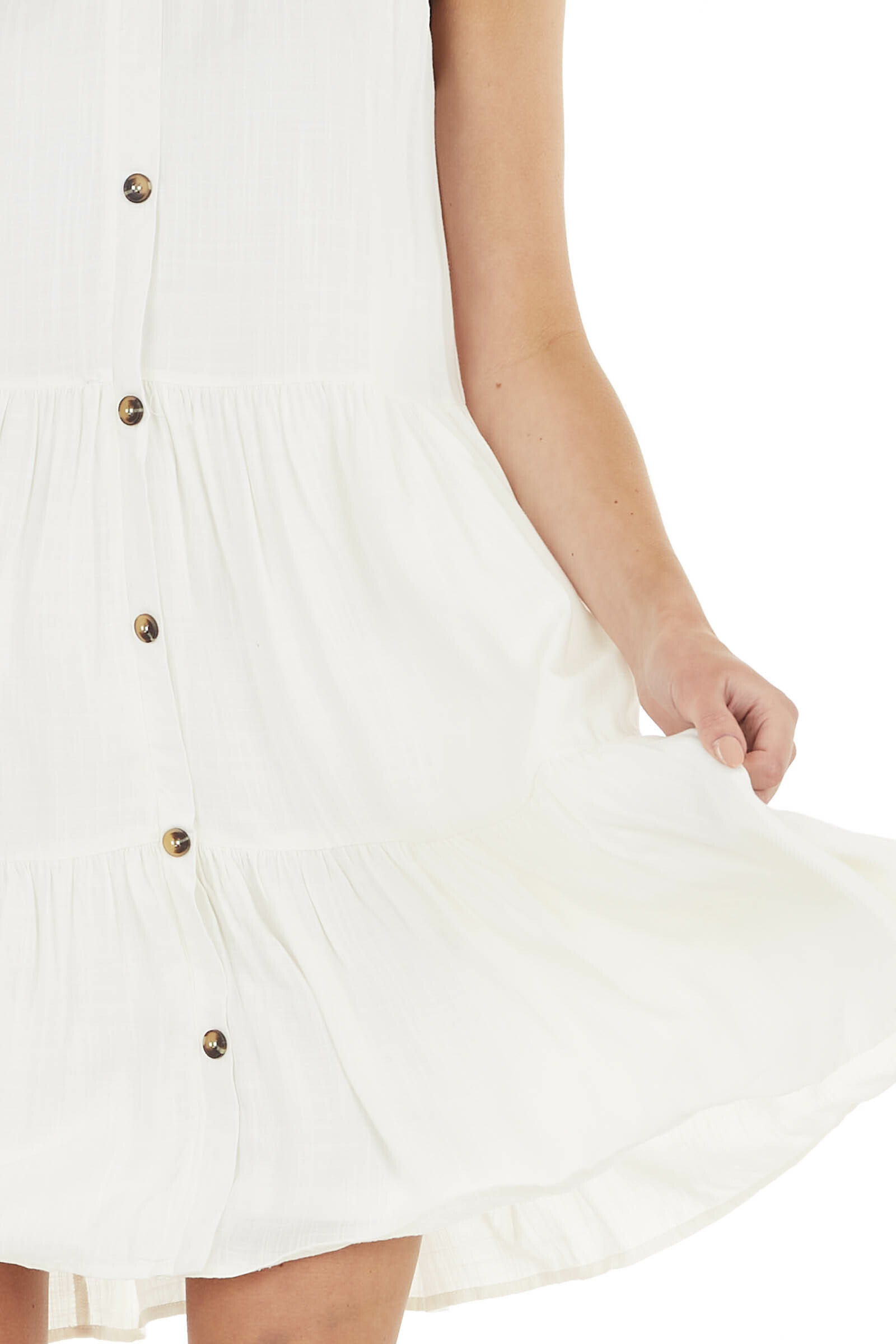 Ivory Sleeveless Button Down Tiered Dress with V Neck