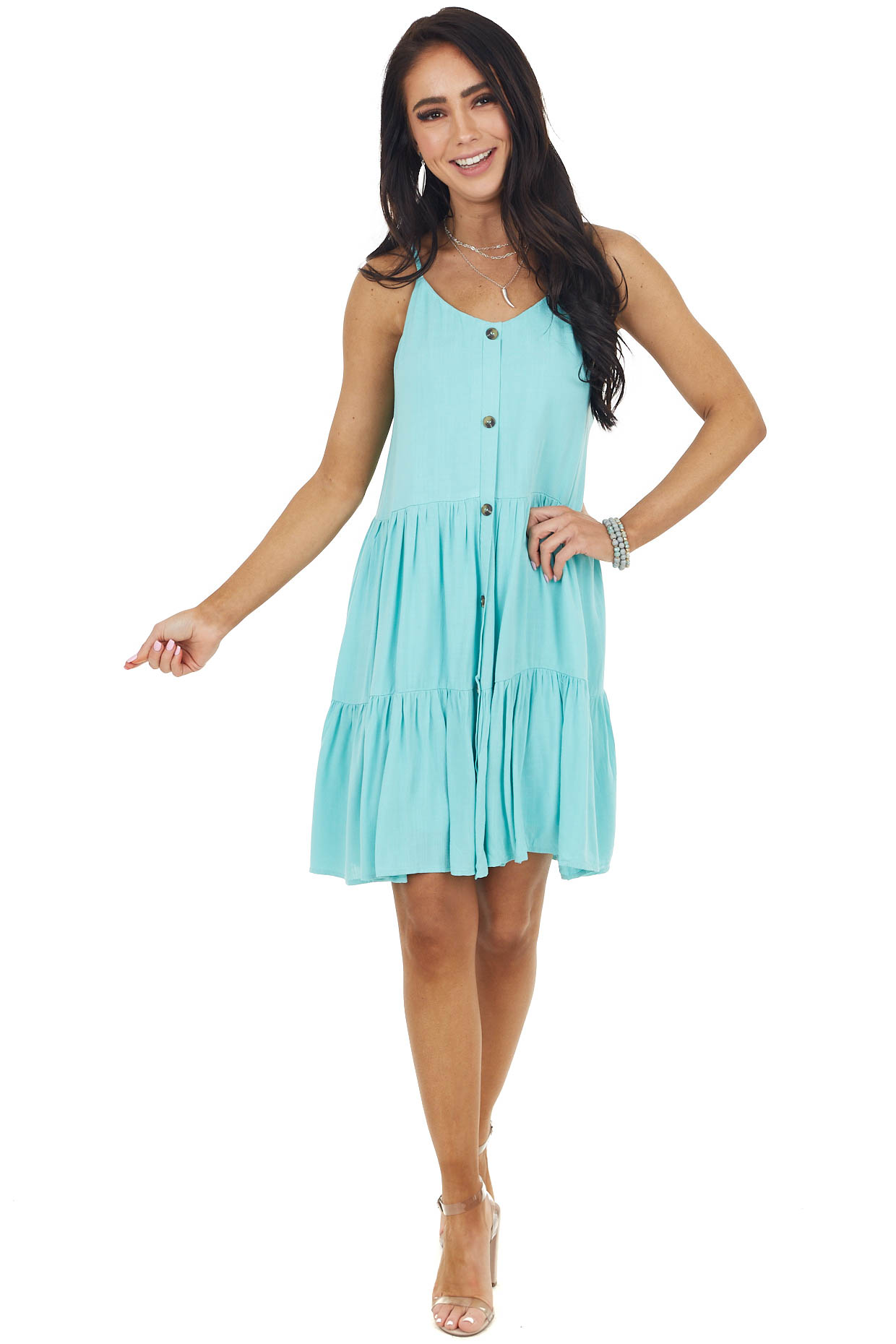 Turquoise Sleeveless Button Down Tiered Dress with V Neck