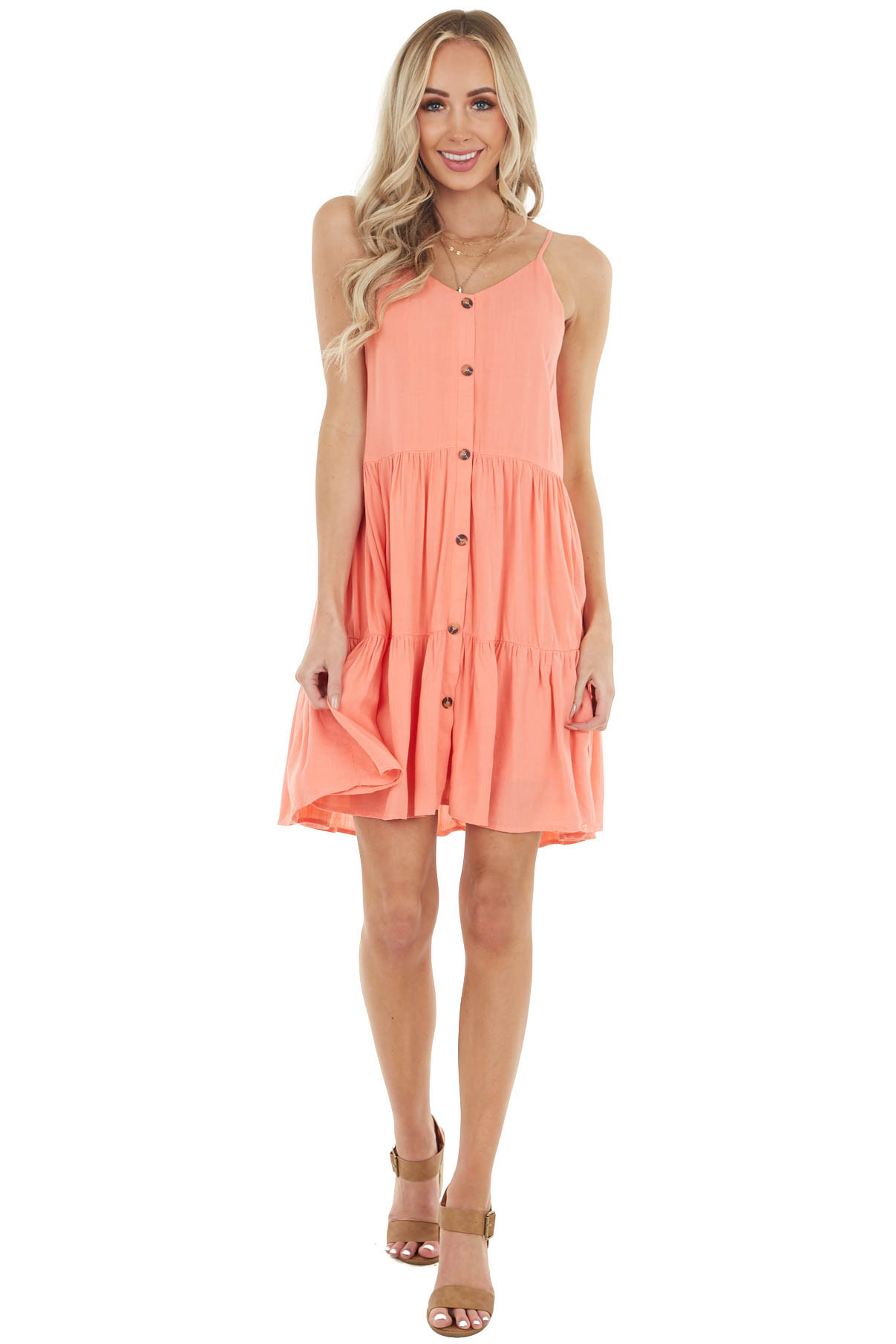 Coral Sleeveless Button Down Tiered Dress with V Neck