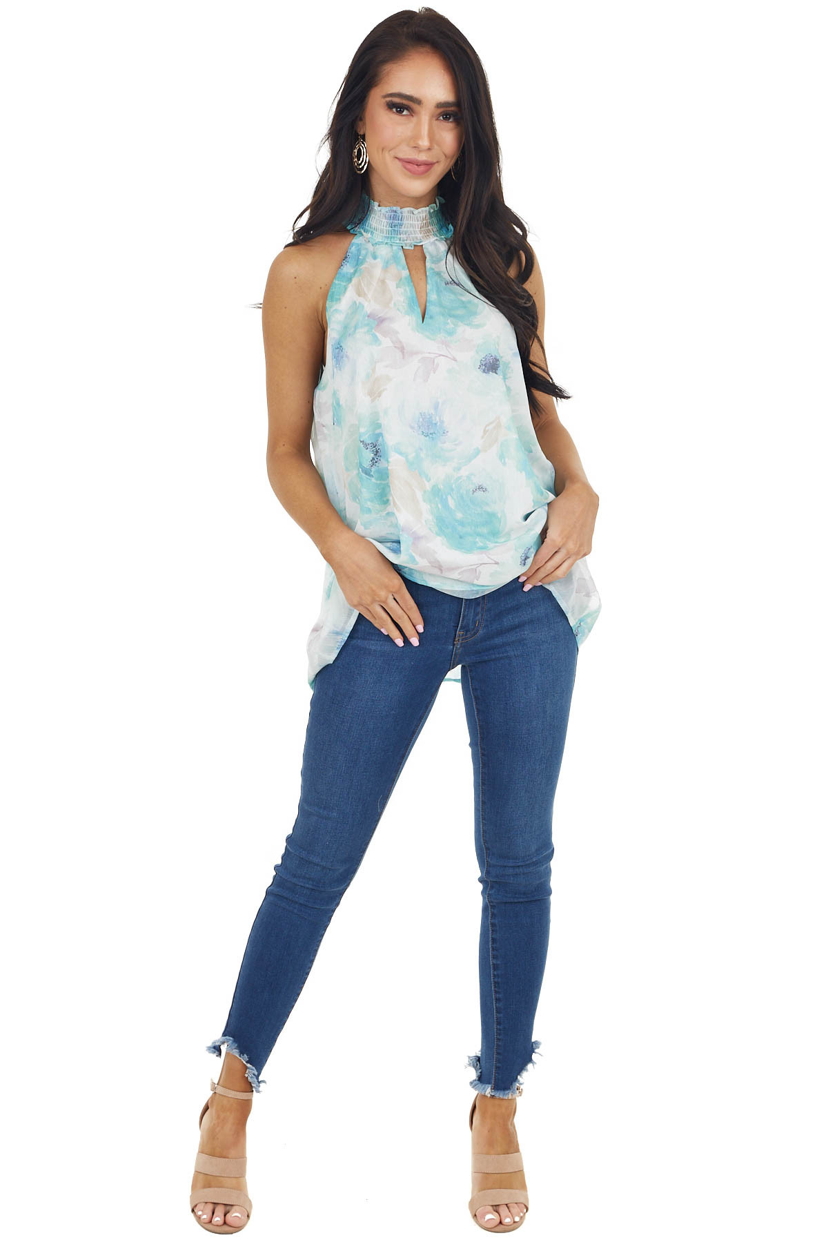 Sky Blue Floral Print Sleeveless Top with Keyhole Detail