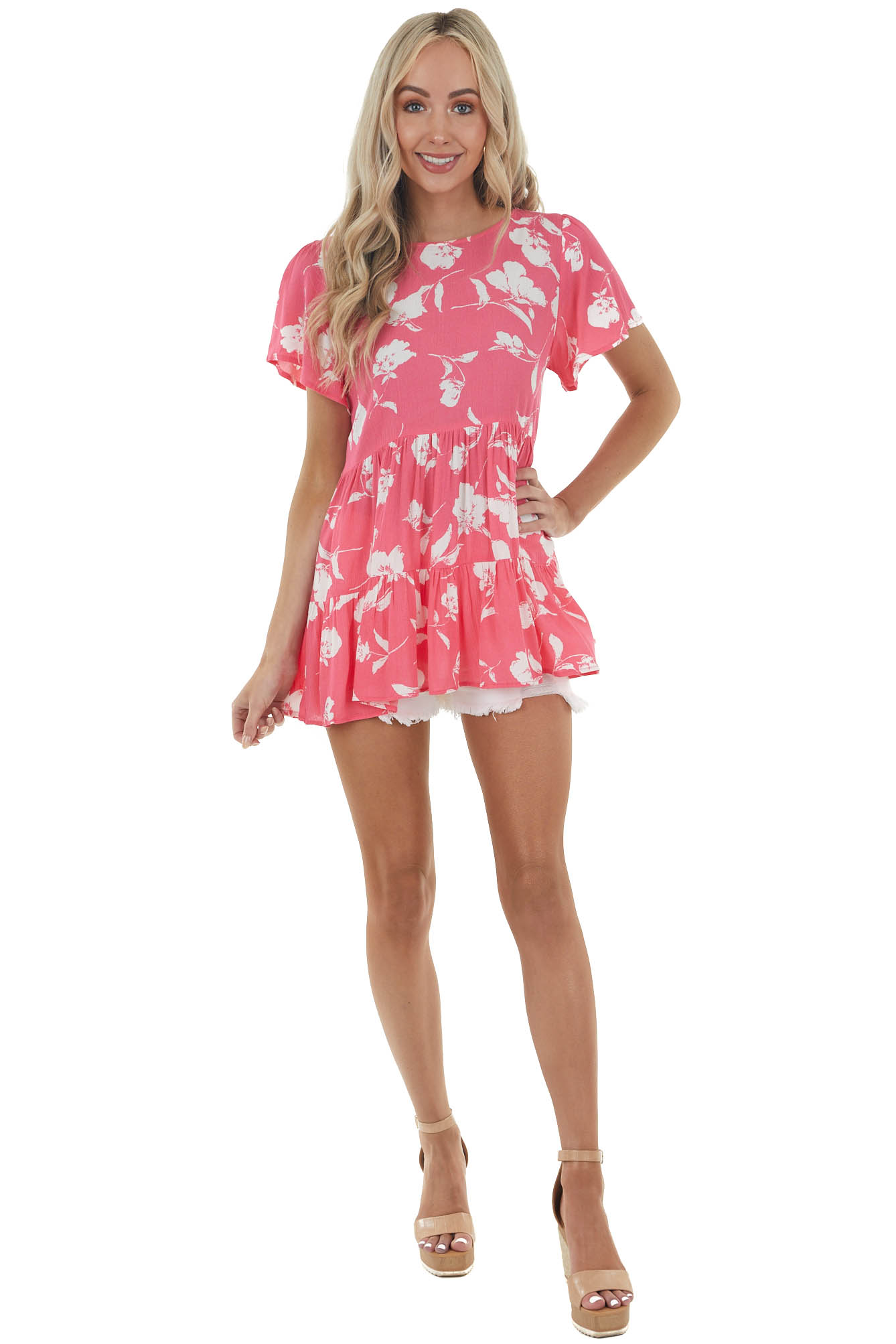 Hot Pink Short Sleeve Drop Waist Blouse with Floral Print