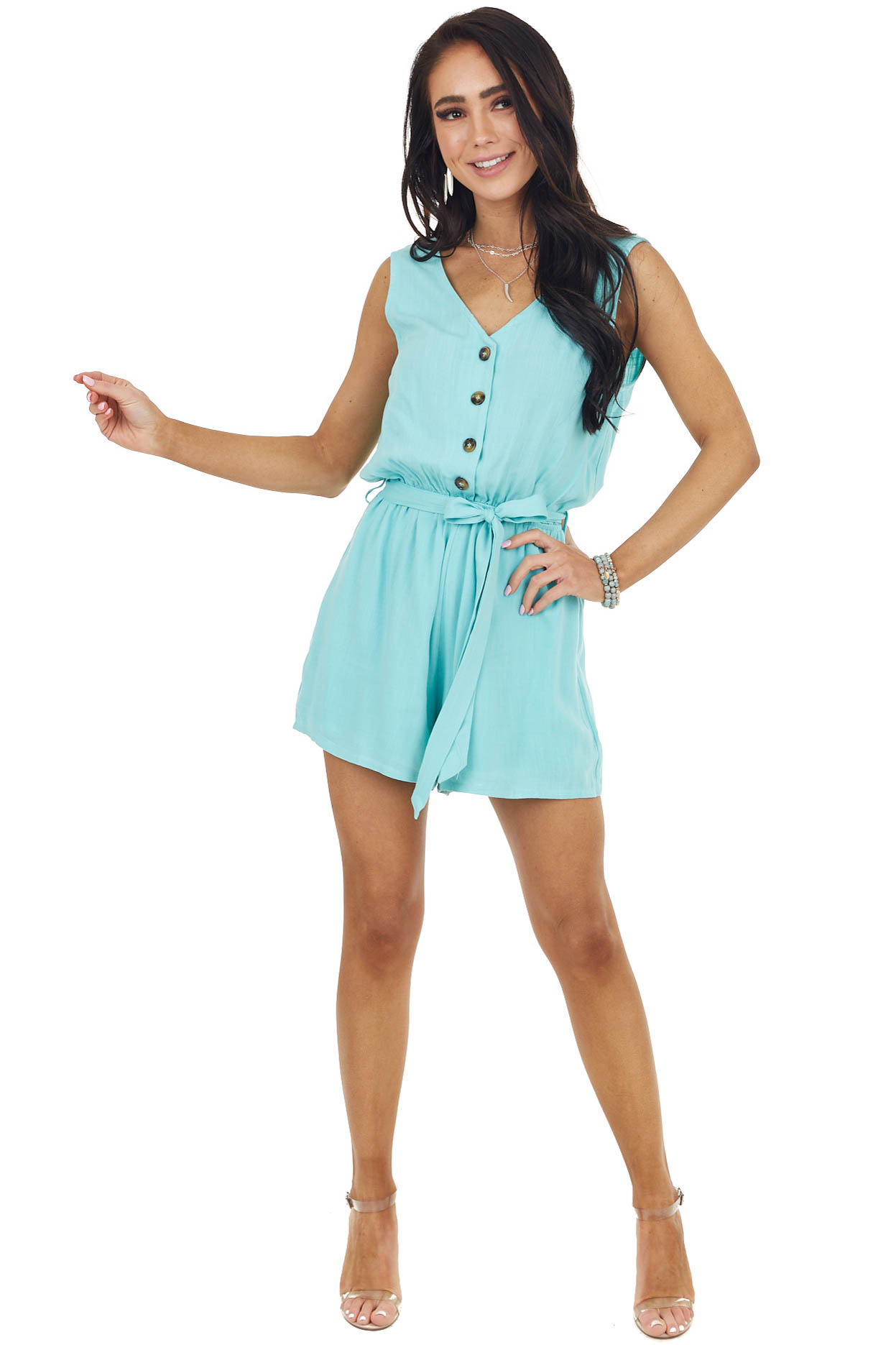 Teal Woven Sleeveless Button Up Romper with Front Tie