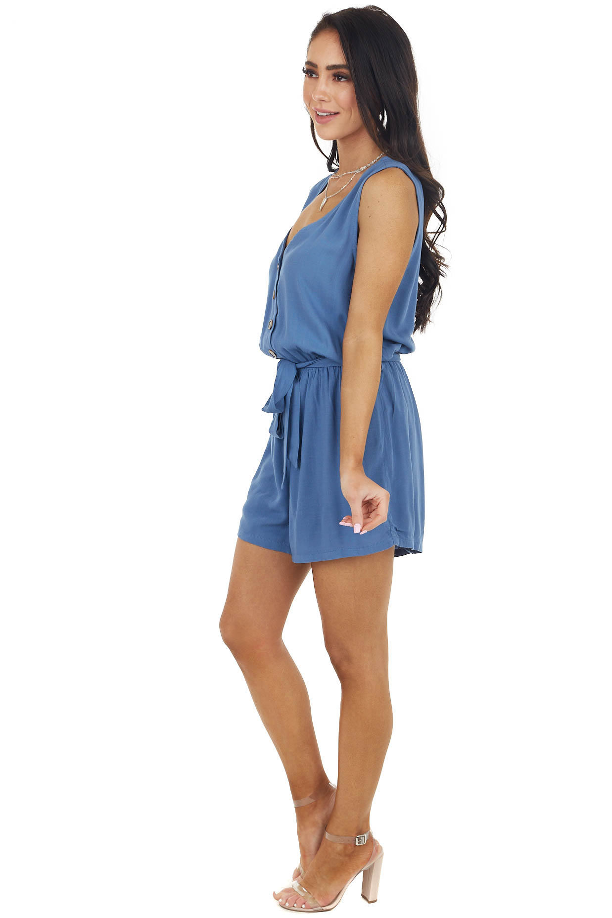 Dusty Blue Woven Sleeveless Button Up Romper with Front Tie