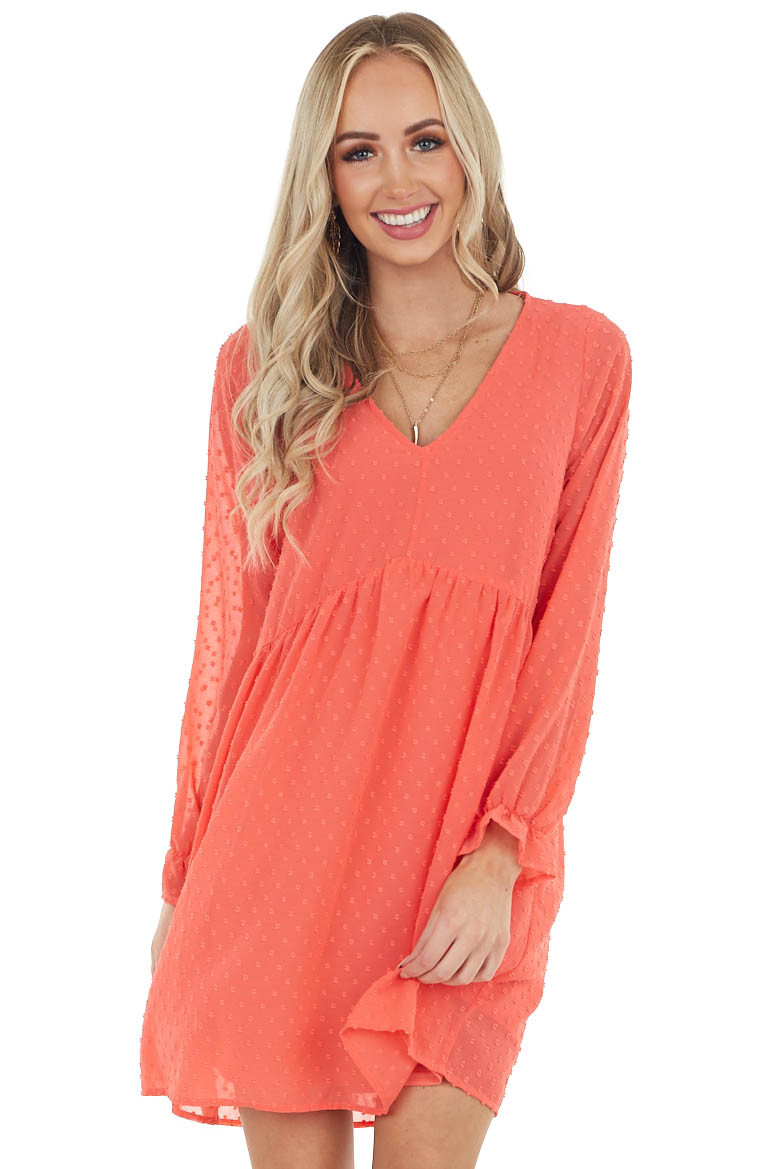 Coral Swiss Dot Babydoll Dress with Long Bubble Sleeves